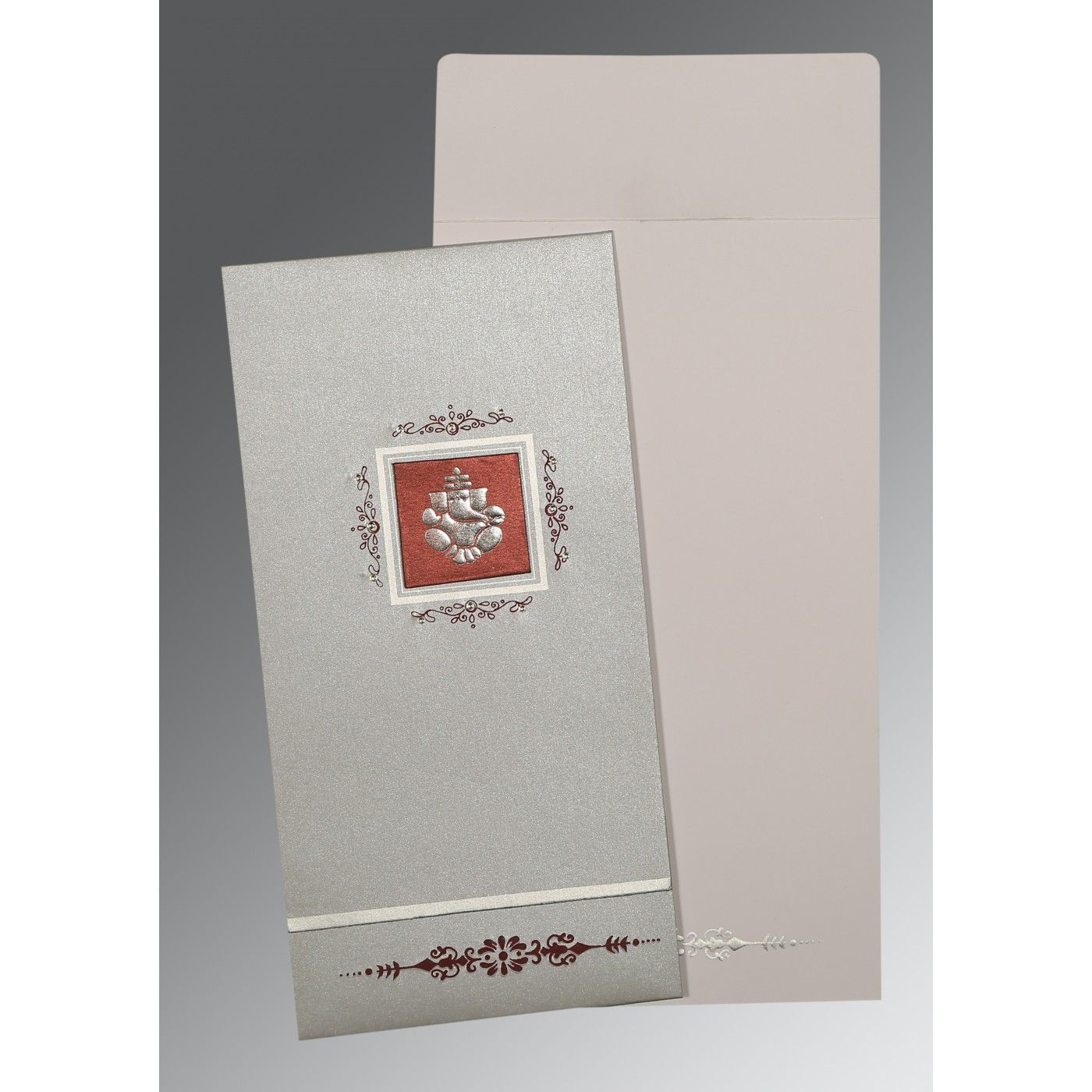 LIGHT GREY SHIMMERY EMBOSSED WEDDING CARD : CW-1427 - IndianWeddingCards