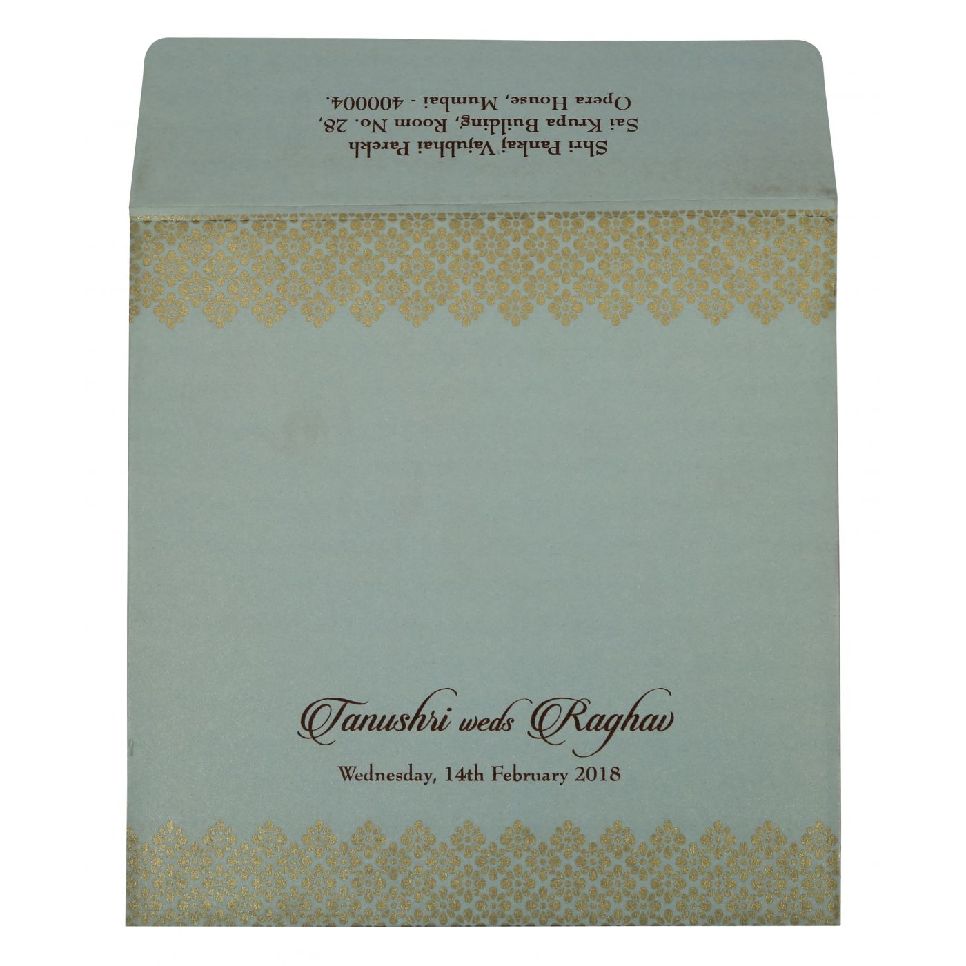 SHELL GREY SHIMMERY FOIL STAMPED WEDDING INVITATION : CW-1801 - IndianWeddingCards