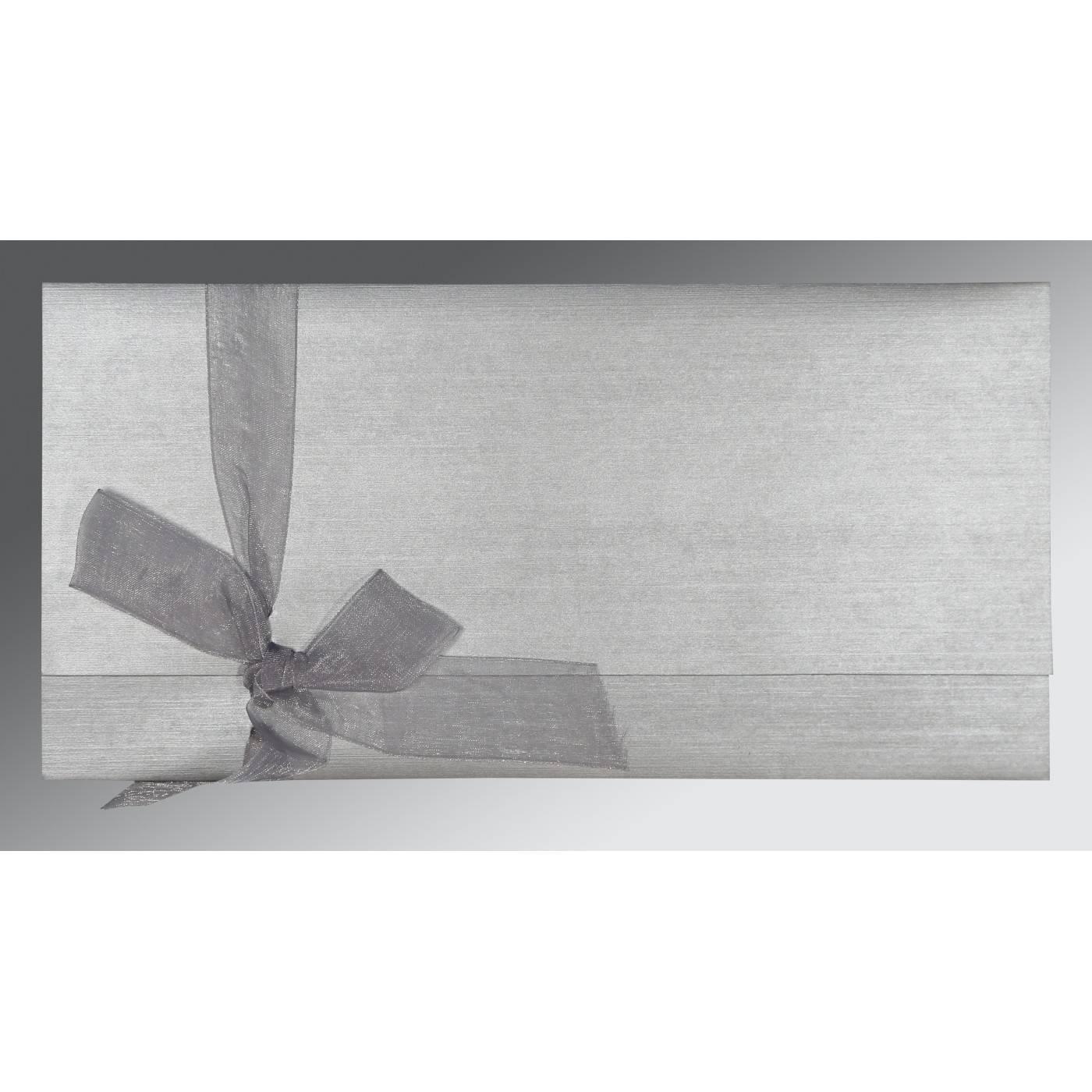 LIGHT GREY SHIMMERY SCREEN PRINTED WEDDING CARD : CRU-1498 - IndianWeddingCards