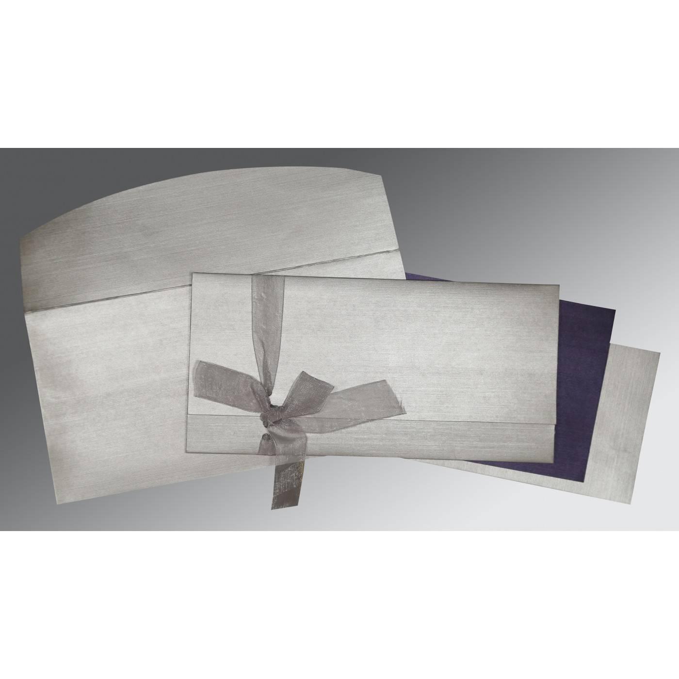 LIGHT GREY SHIMMERY SCREEN PRINTED WEDDING CARD : CW-1498 - IndianWeddingCards