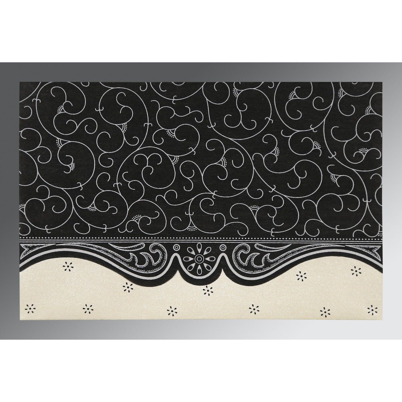 BLACK MATTE EMBOSSED WEDDING INVITATION : CIN-8221N - IndianWeddingCards