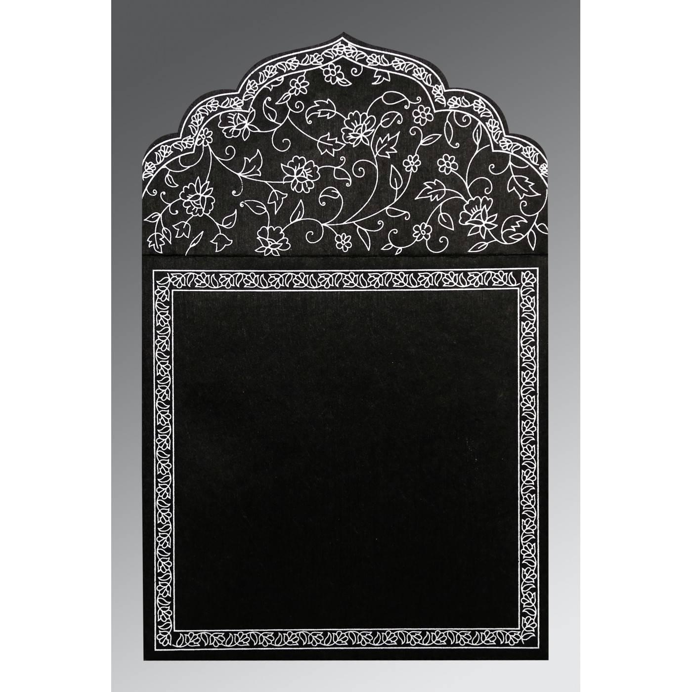 BLACK WOOLY FLORAL THEMED - SCREEN PRINTED WEDDING INVITATION : CG-8211B - IndianWeddingCards
