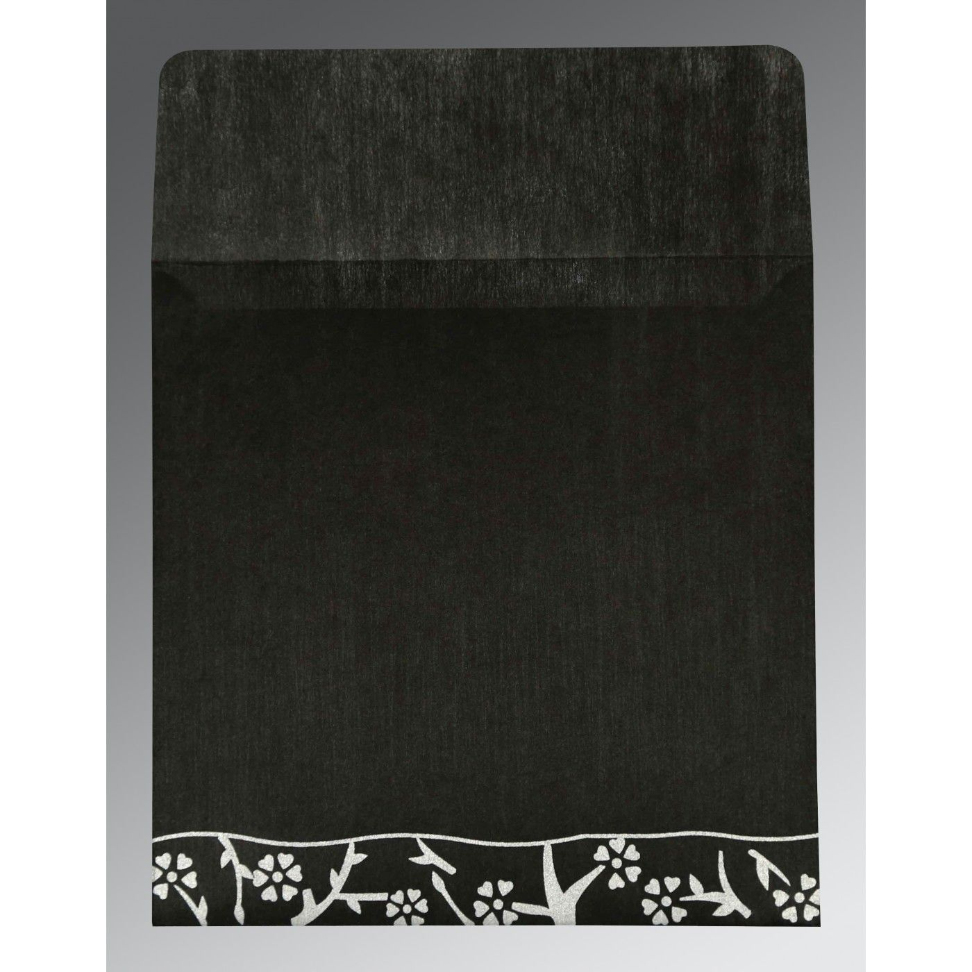 BLACK WOOLY FLORAL THEMED - SCREEN PRINTED WEDDING INVITATION : CG-8216N - IndianWeddingCards