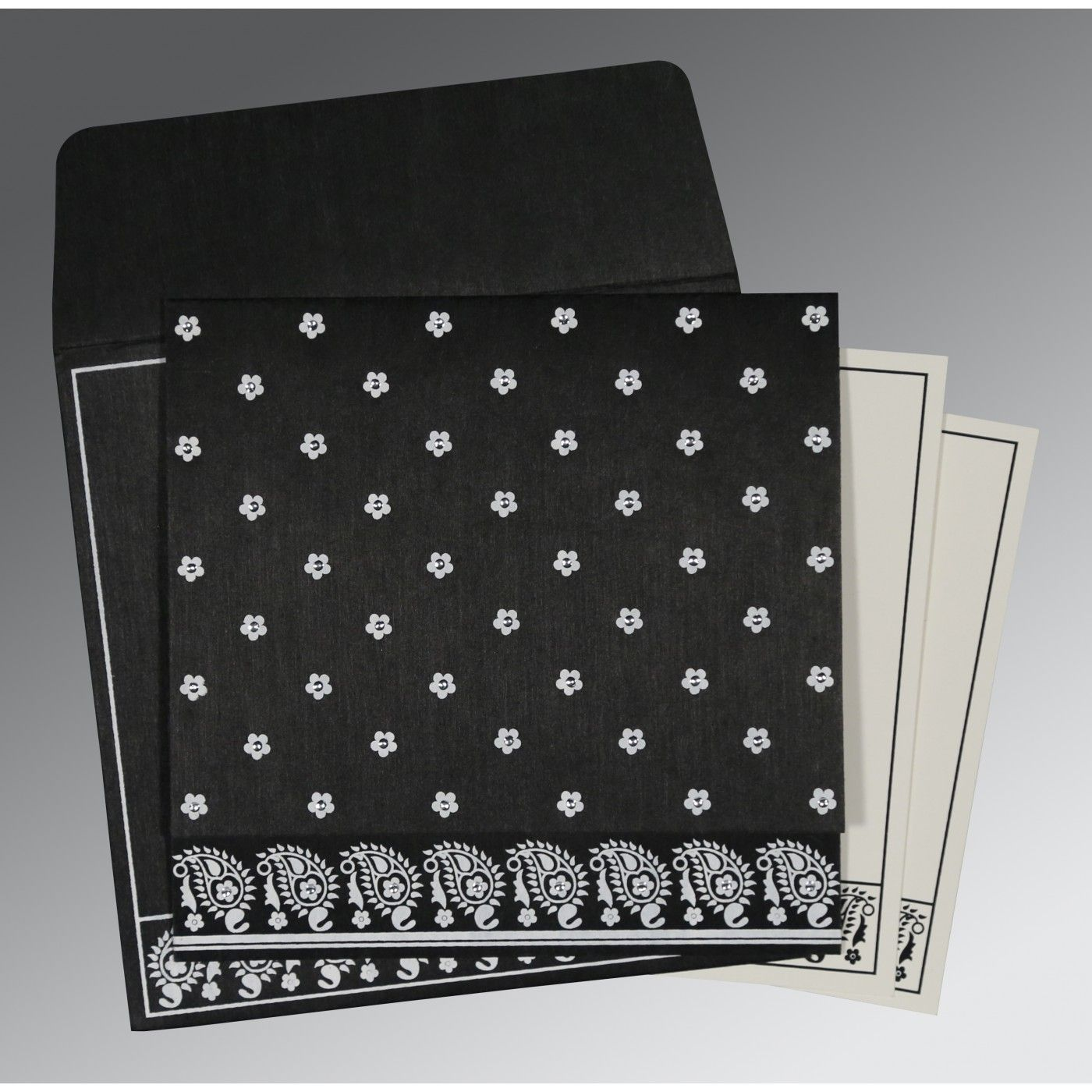 BLACK WOOLY FLORAL THEMED - SCREEN PRINTED WEDDING CARD : CG-8218L - IndianWeddingCards