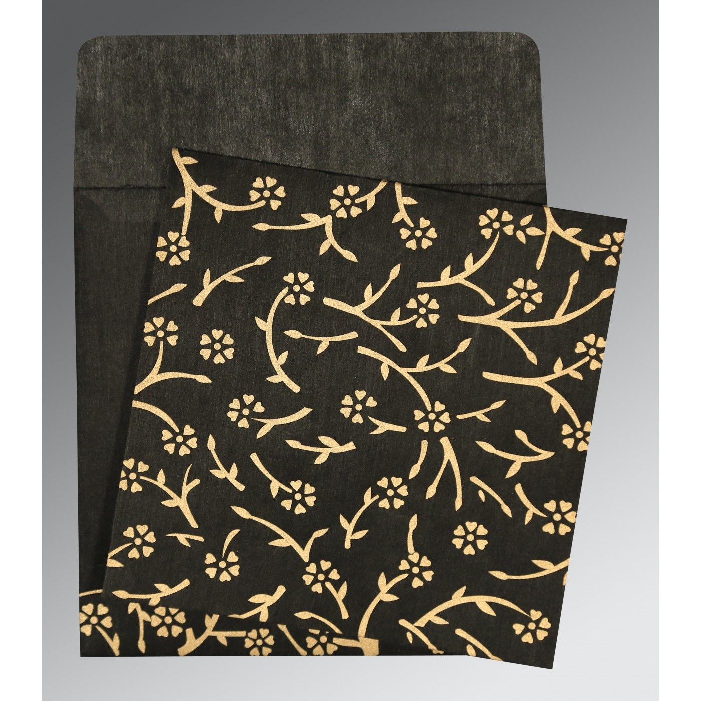 BLACK WOOLY FLORAL THEMED - SCREEN PRINTED WEDDING INVITATION : CSO-8216K - IndianWeddingCards