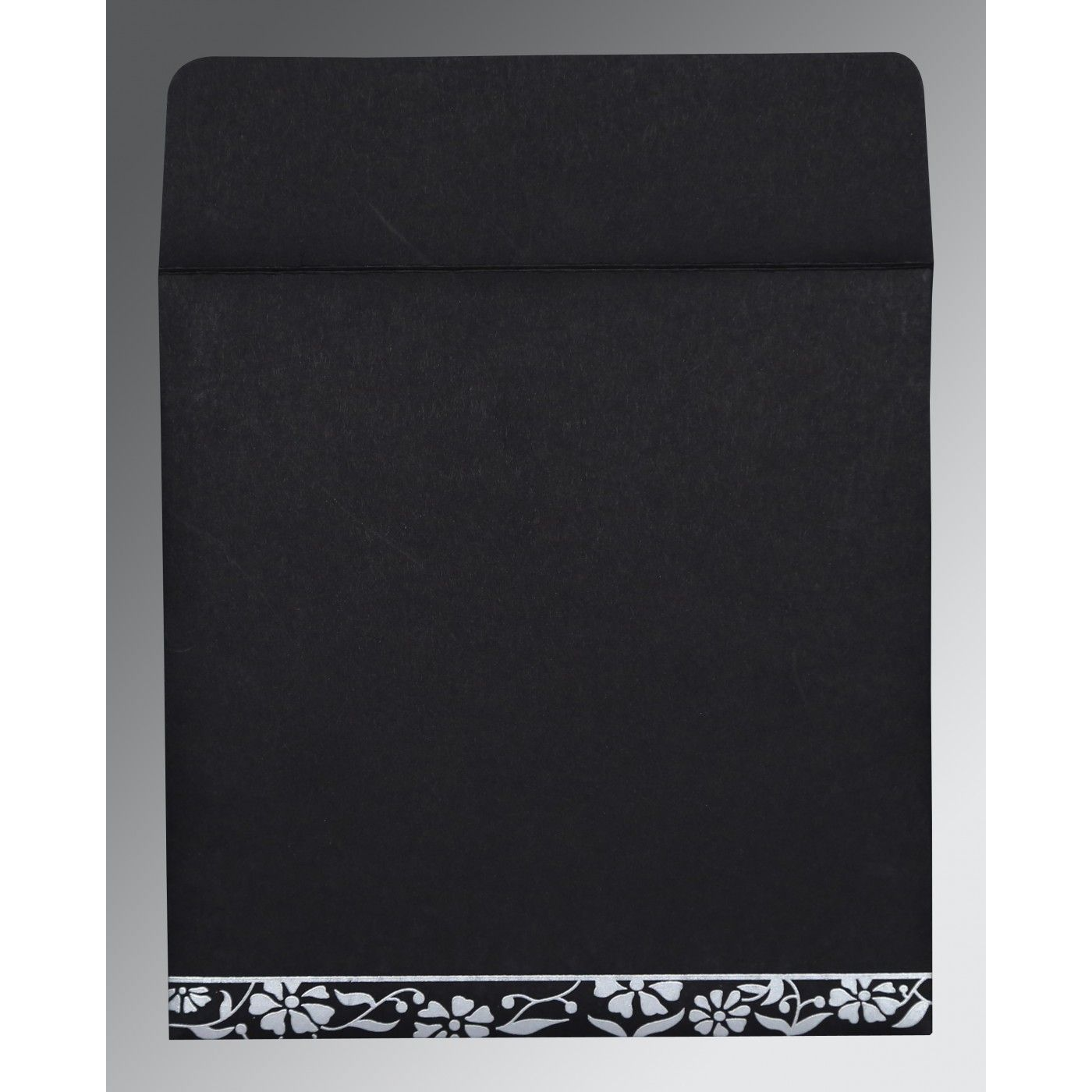 BLACK MATTE FLORAL THEMED - SCREEN PRINTED WEDDING CARD : CW-8222J - IndianWeddingCards