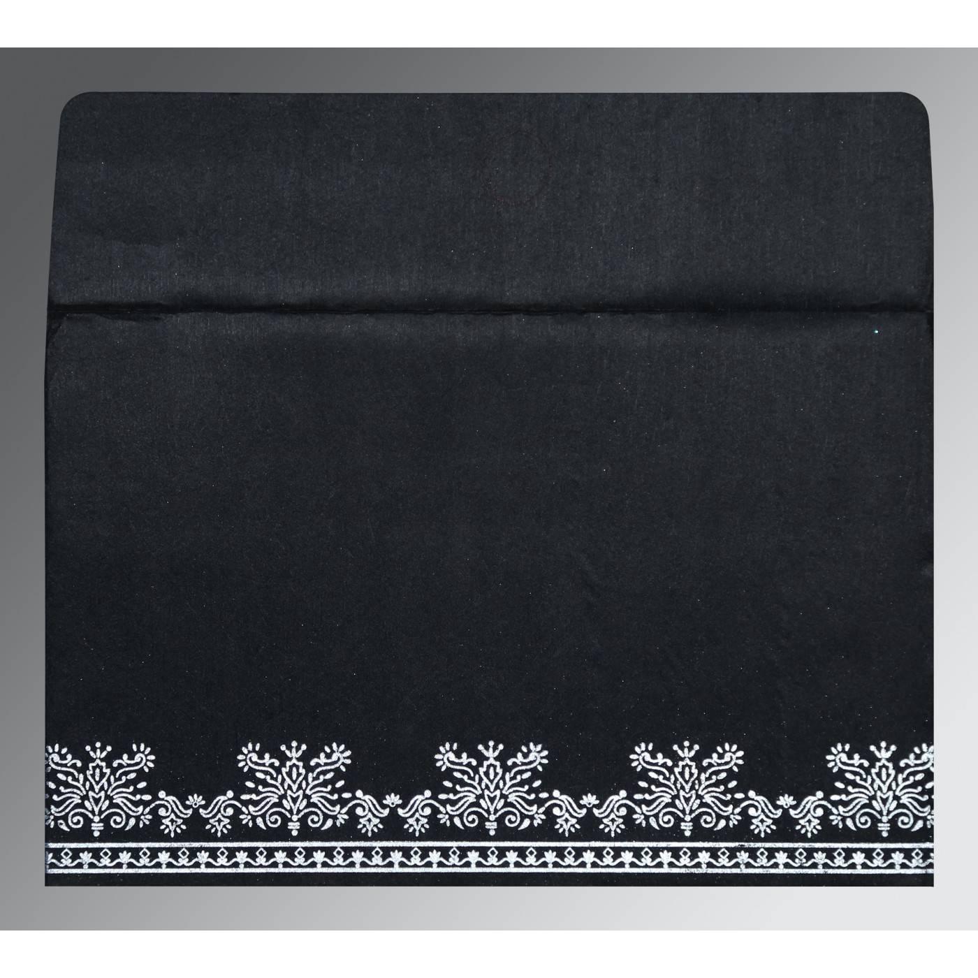 BLACK WOOLY FOIL STAMPED WEDDING INVITATION : CI-8241O - IndianWeddingCards
