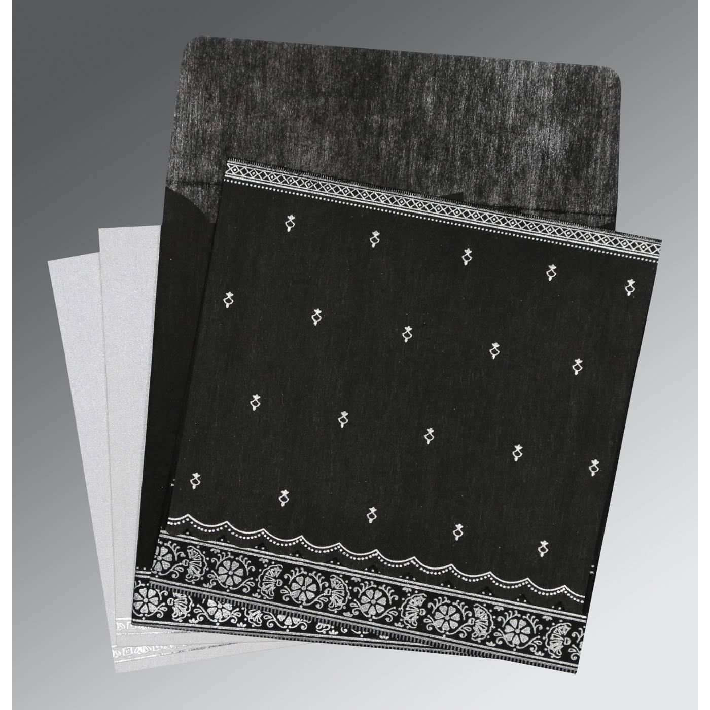 BLACK WOOLY FOIL STAMPED WEDDING CARD : CIN-8242B - IndianWeddingCards
