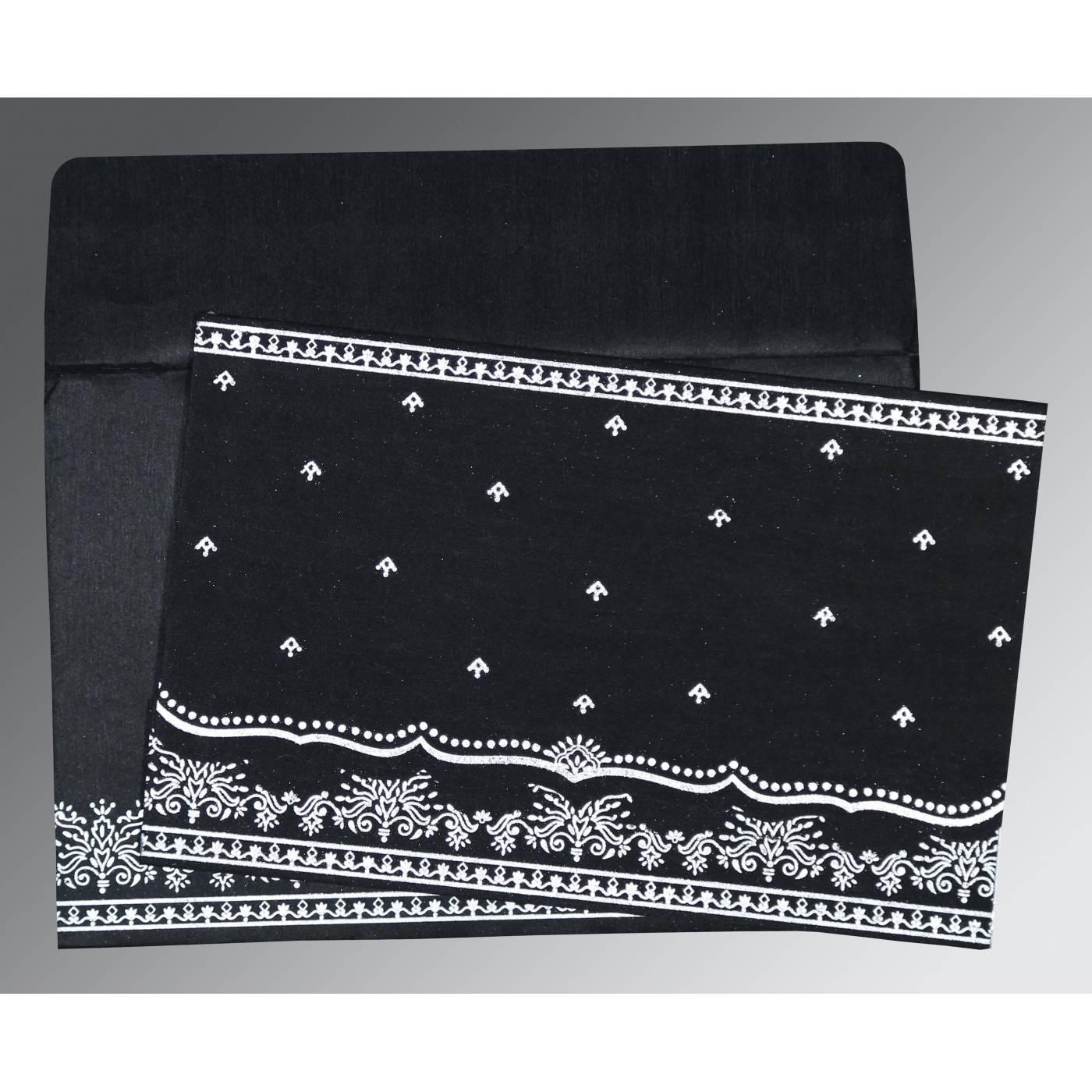 BLACK WOOLY FOIL STAMPED WEDDING INVITATION : CS-8241O - IndianWeddingCards