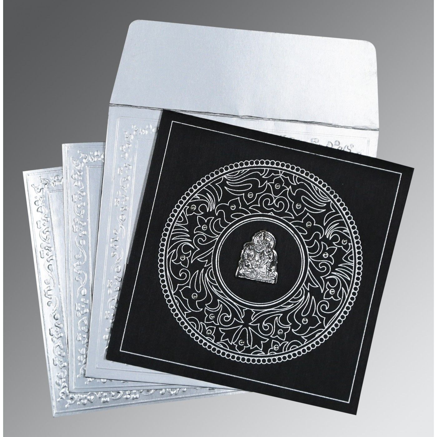 BLACK WOOLY SCREEN PRINTED WEDDING CARD : CG-8214N - IndianWeddingCards