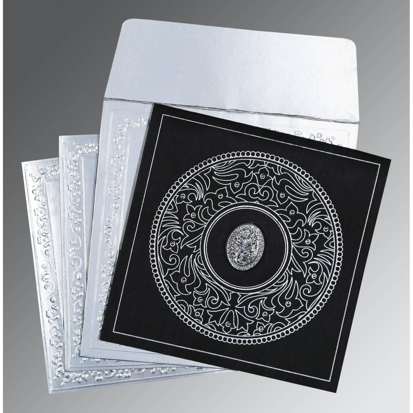 BLACK WOOLY SCREEN PRINTED WEDDING CARD : CI-8214N - IndianWeddingCards