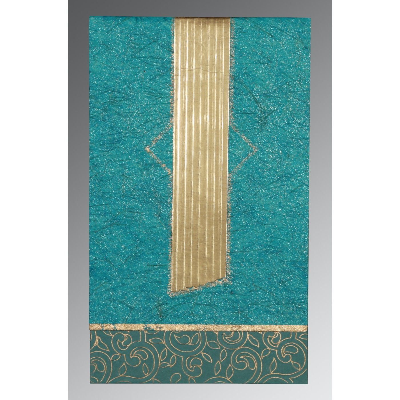 TEAL BLUE MATTE BOX THEMED - EMBOSSED WEDDING INVITATION : CRU-1438 - IndianWeddingCards