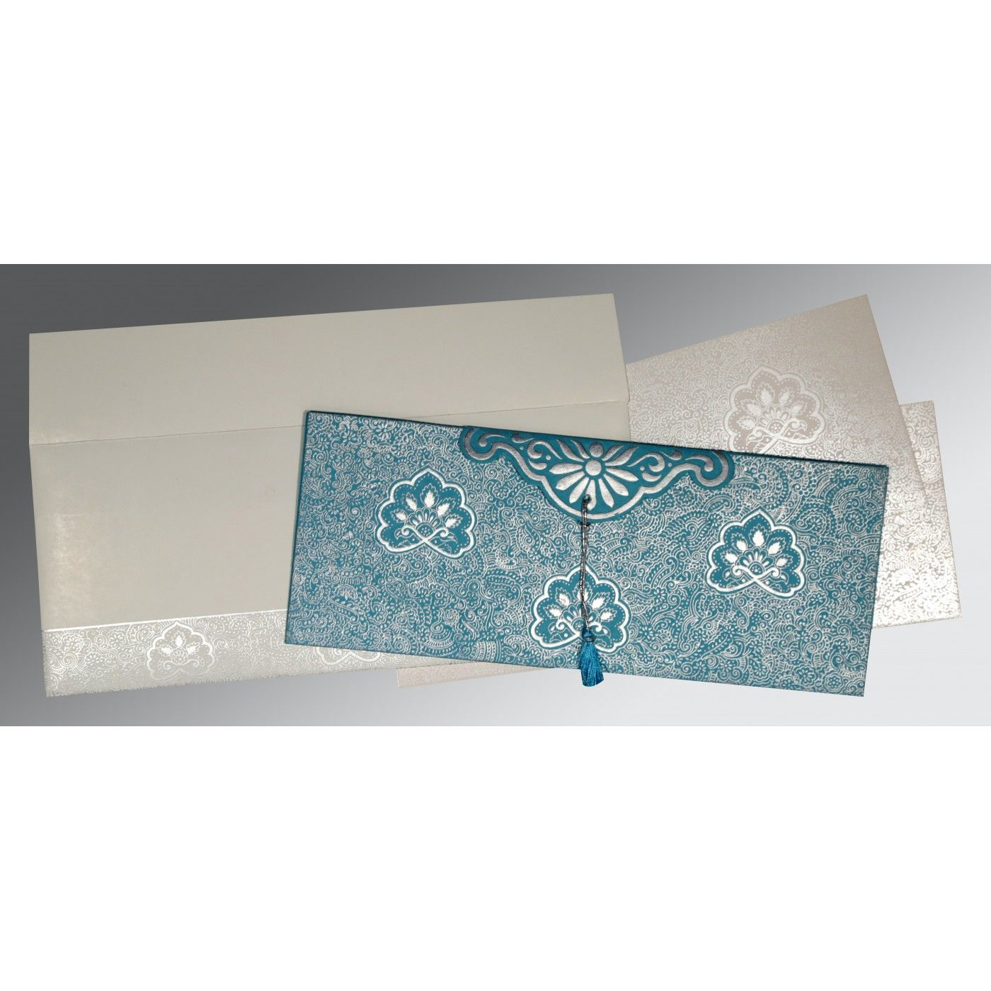 TEAL BLUE HANDMADE COTTON EMBOSSED WEDDING INVITATION : CI-1410 - IndianWeddingCards