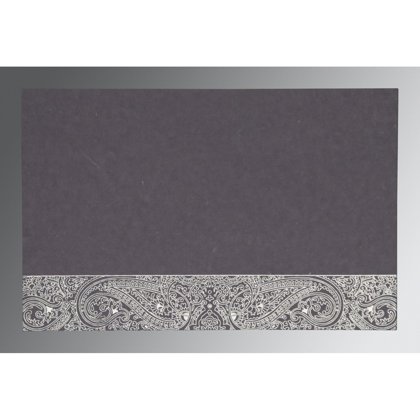 BLUISH GREY HANDMADE COTTON EMBOSSED WEDDING CARD : C-IN-8234J - IndianWeddingCards
