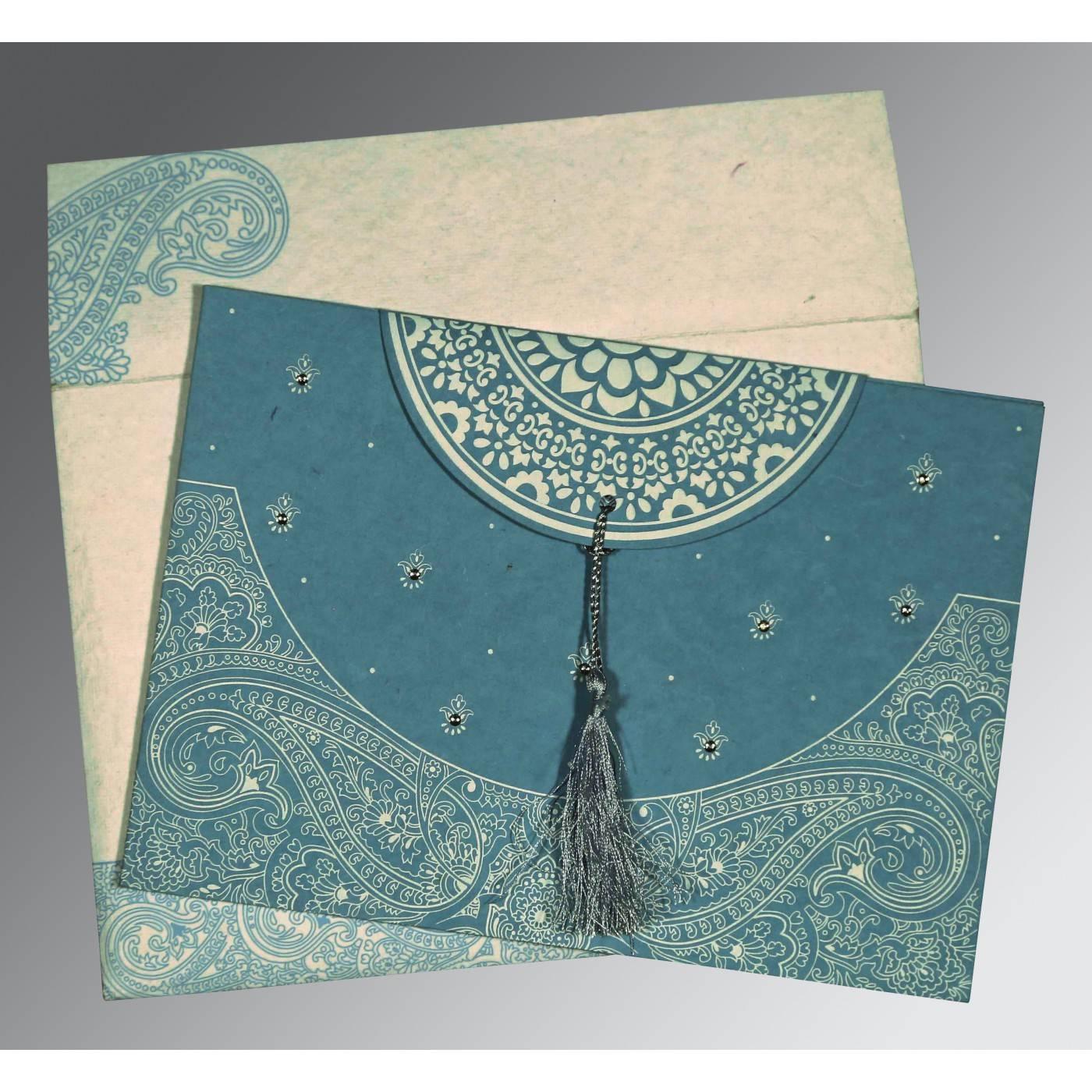 BURMUDA GREY HANDMADE COTTON EMBOSSED WEDDING CARD : CS-8234E - IndianWeddingCards
