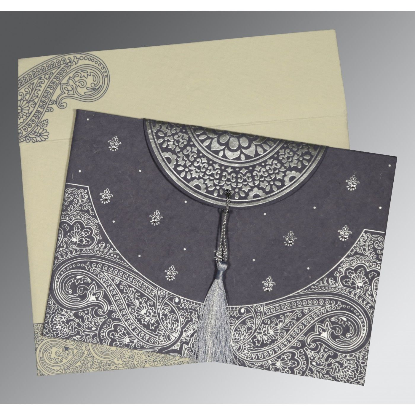BLUISH GREY HANDMADE COTTON EMBOSSED WEDDING CARD : CSO-8234J - IndianWeddingCards