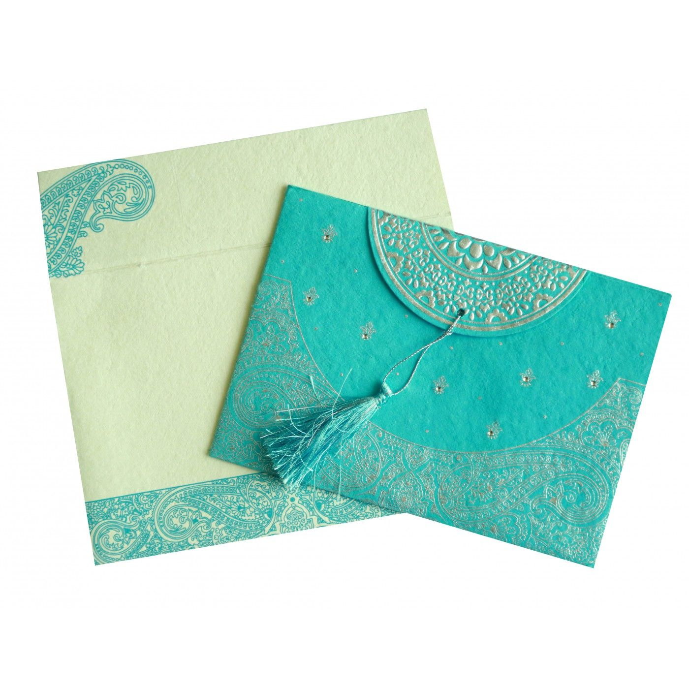TURQUOISE HANDMADE COTTON EMBOSSED WEDDING CARD : CSO-8234K - IndianWeddingCards
