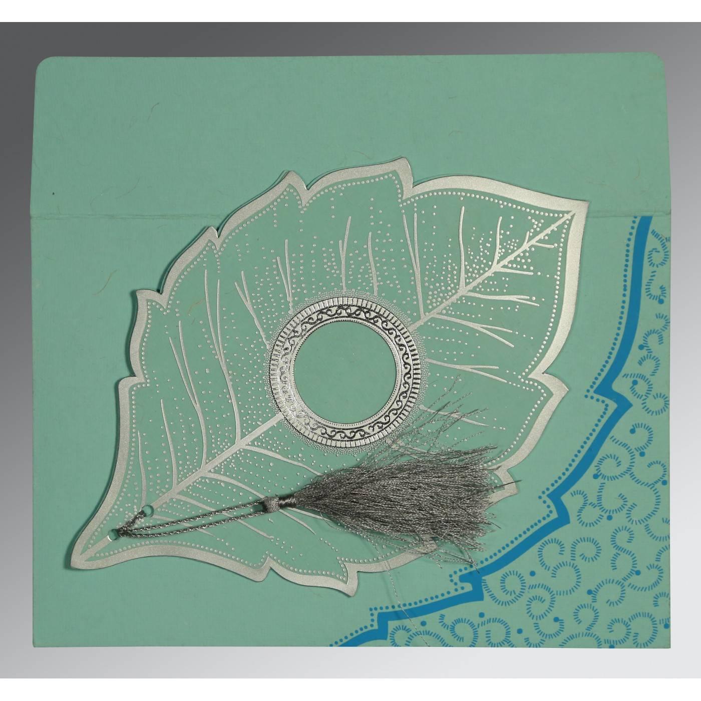 AQUA HANDMADE COTTON FLORAL THEMED - FOIL STAMPED WEDDING CARD : CG-8219C - IndianWeddingCards
