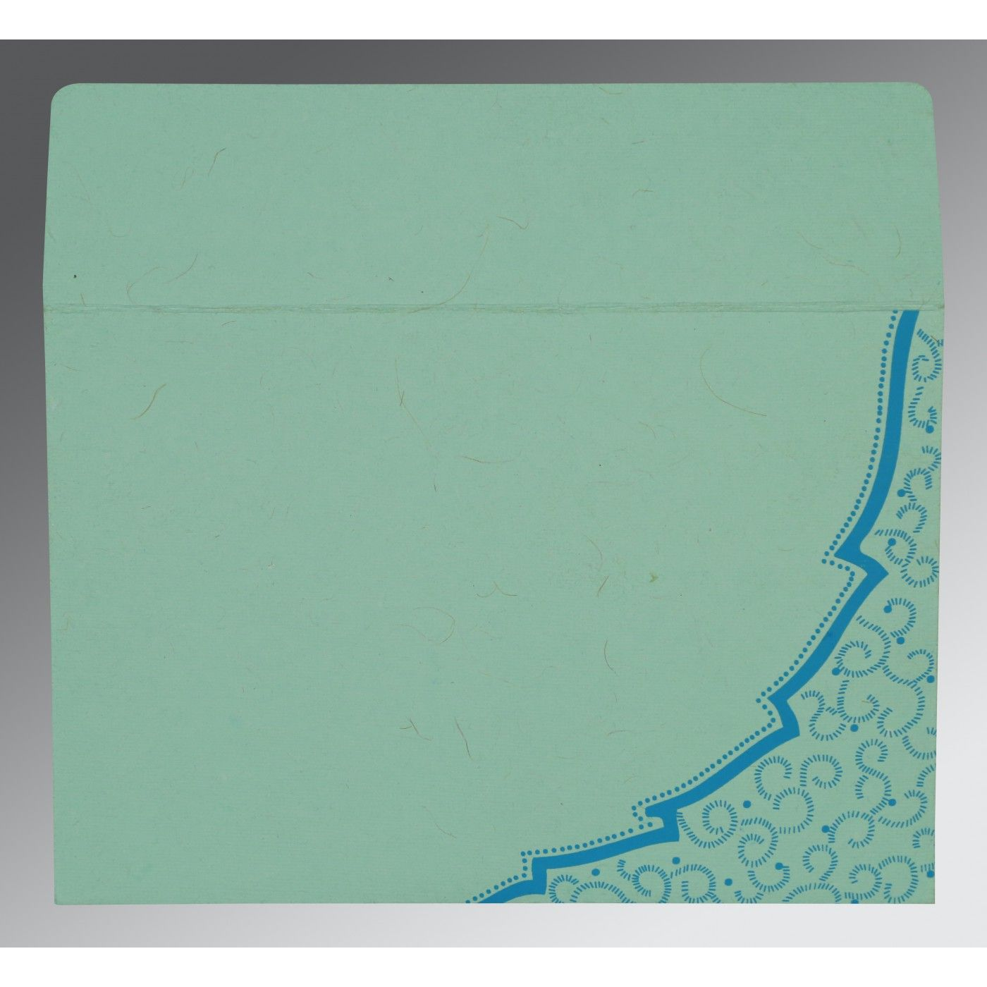 AQUA HANDMADE COTTON FLORAL THEMED - FOIL STAMPED WEDDING CARD : CS-8219C - IndianWeddingCards