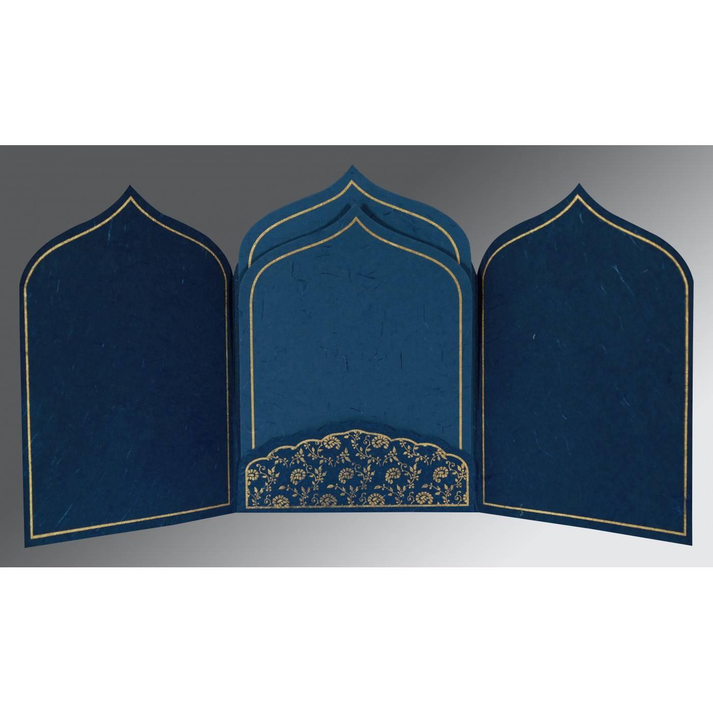 TEAL BLUE HANDMADE SILK PAISLEY THEMED - GLITTER WEDDING INVITATION : CD-8208B - IndianWeddingCards