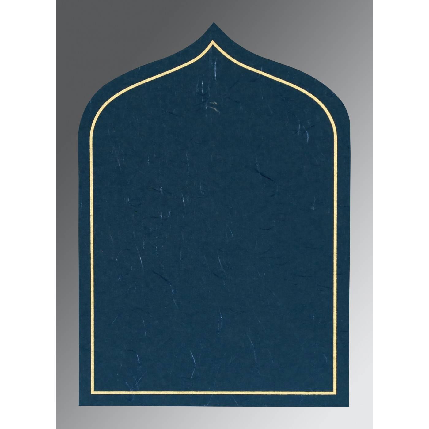 TEAL BLUE HANDMADE SILK PAISLEY THEMED - GLITTER WEDDING INVITATION : CG-8208B - IndianWeddingCards