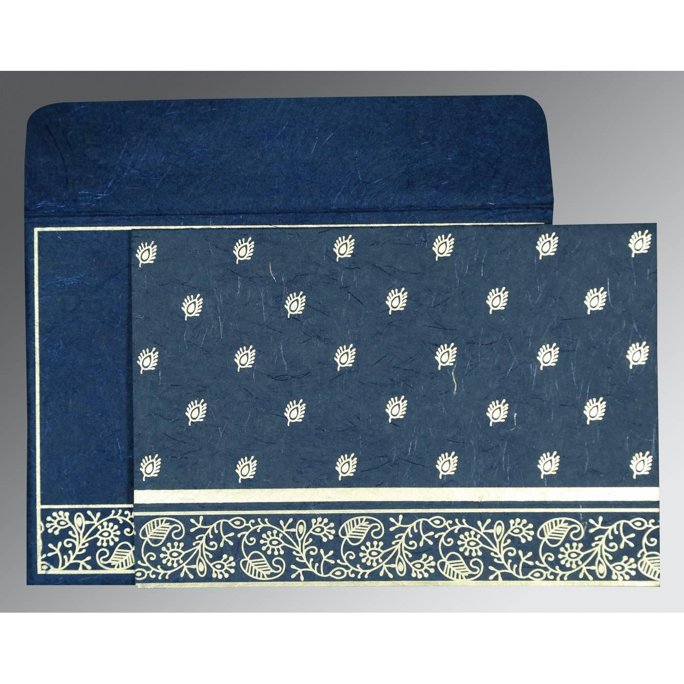 COBALT BLUE HANDMADE SILK SCREEN PRINTED WEDDING CARD : CIN-8215I - IndianWeddingCards