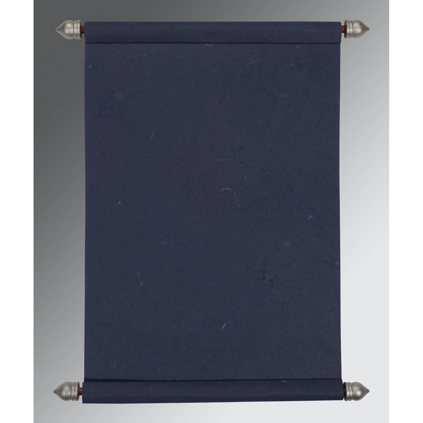 TORNADO BLUE HANDMADE SILK WEDDING CARD : CSC-5002D - IndianWeddingCards