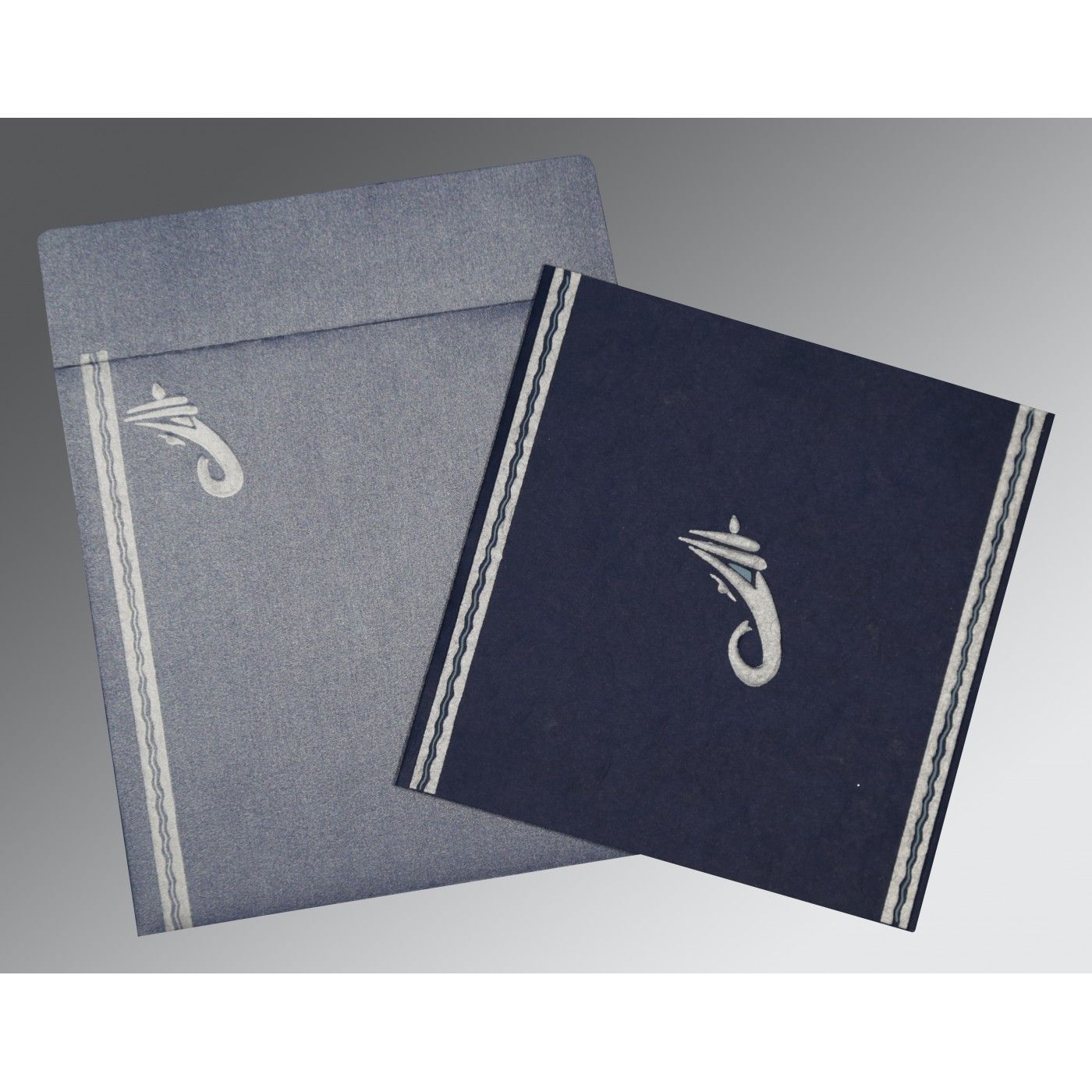 TATIANA MIDNIGHT BLUE MATTE EMBOSSED WEDDING CARD : CW-2179 - IndianWeddingCards