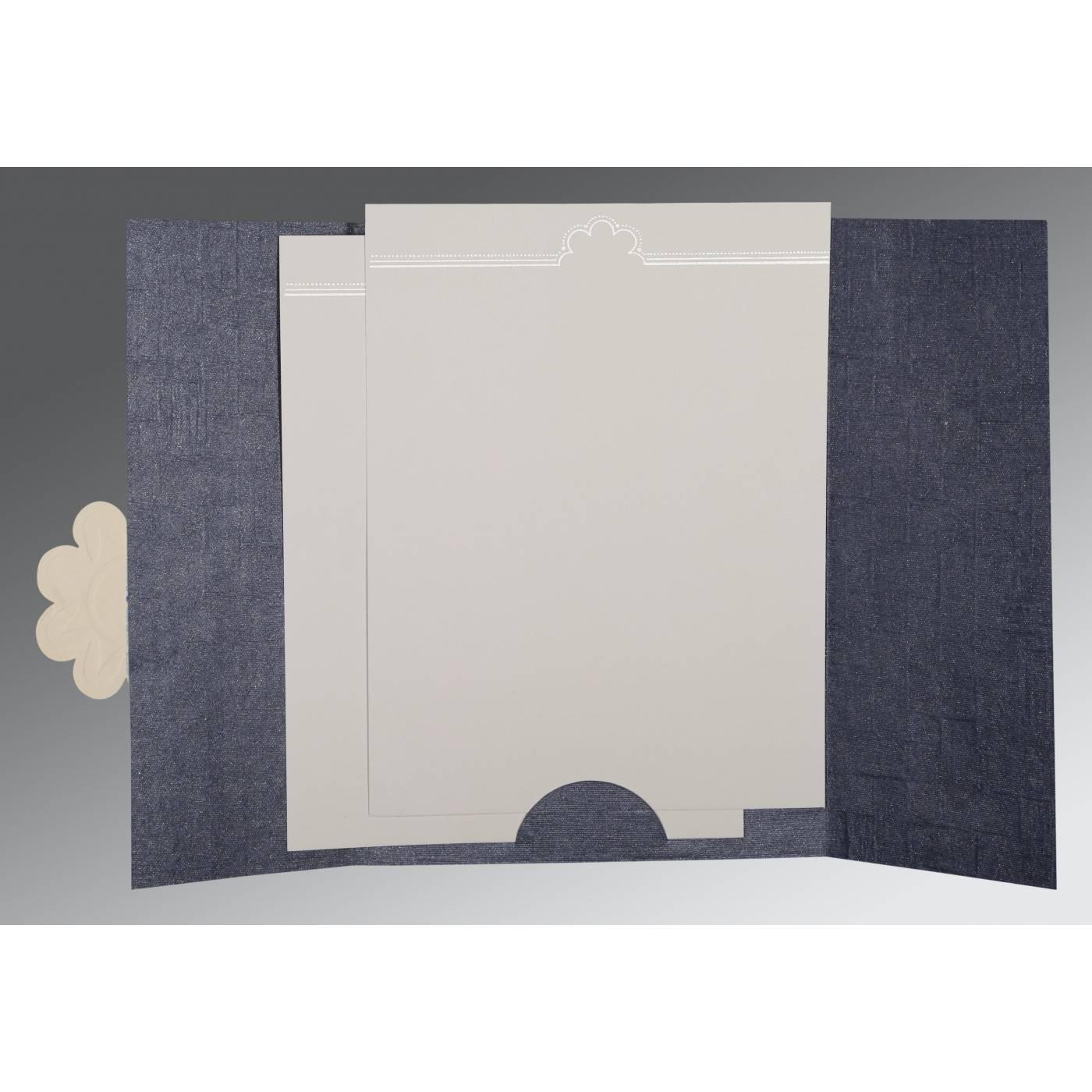 GRAYISH BLUE MATTE FLORAL THEMED - EMBOSSED WEDDING CARD : CD-1285 - IndianWeddingCards
