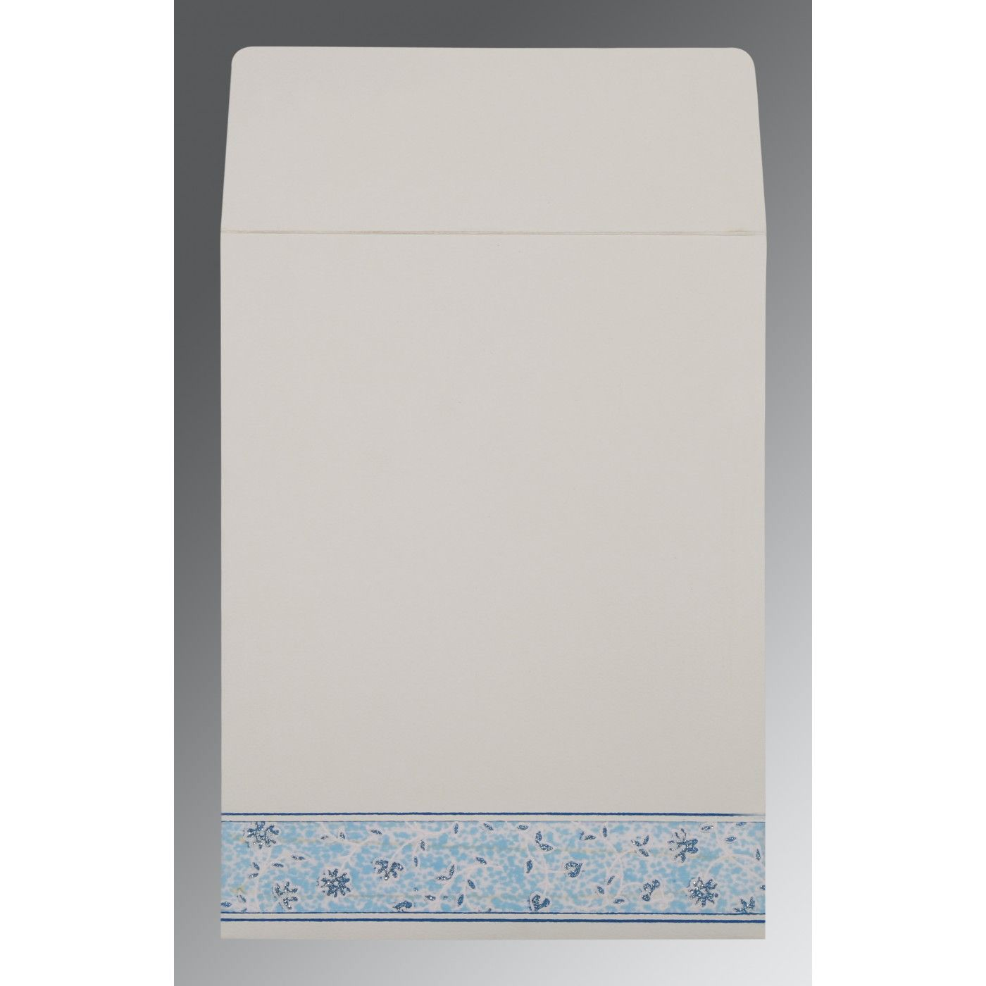 GRAYISH BLUE MATTE FLORAL THEMED - EMBOSSED WEDDING CARD : CRU-1285 - IndianWeddingCards