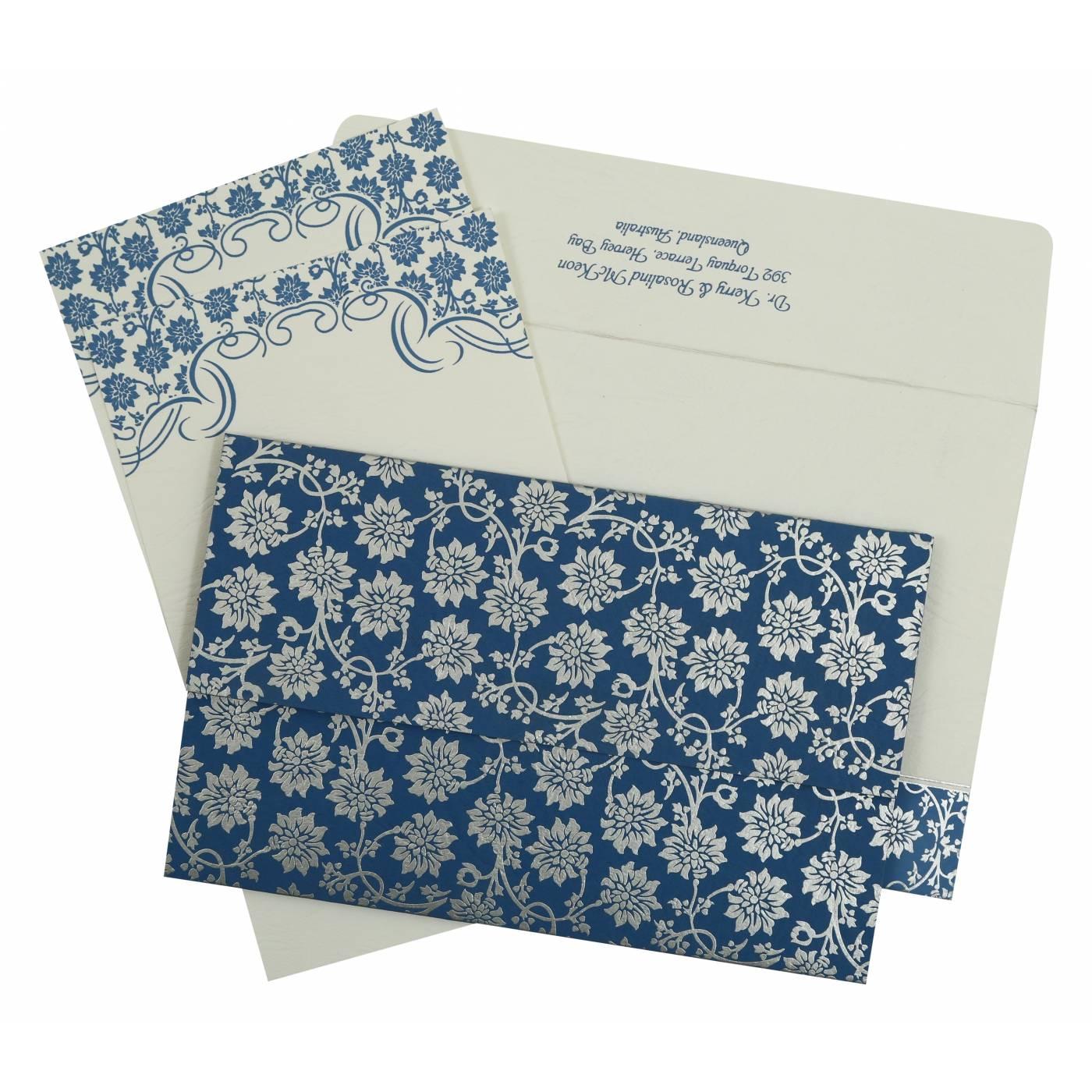 BLUE MATTE FLORAL THEMED - SCREEN PRINTED WEDDING INVITATION : CRU-810A - IndianWeddingCards