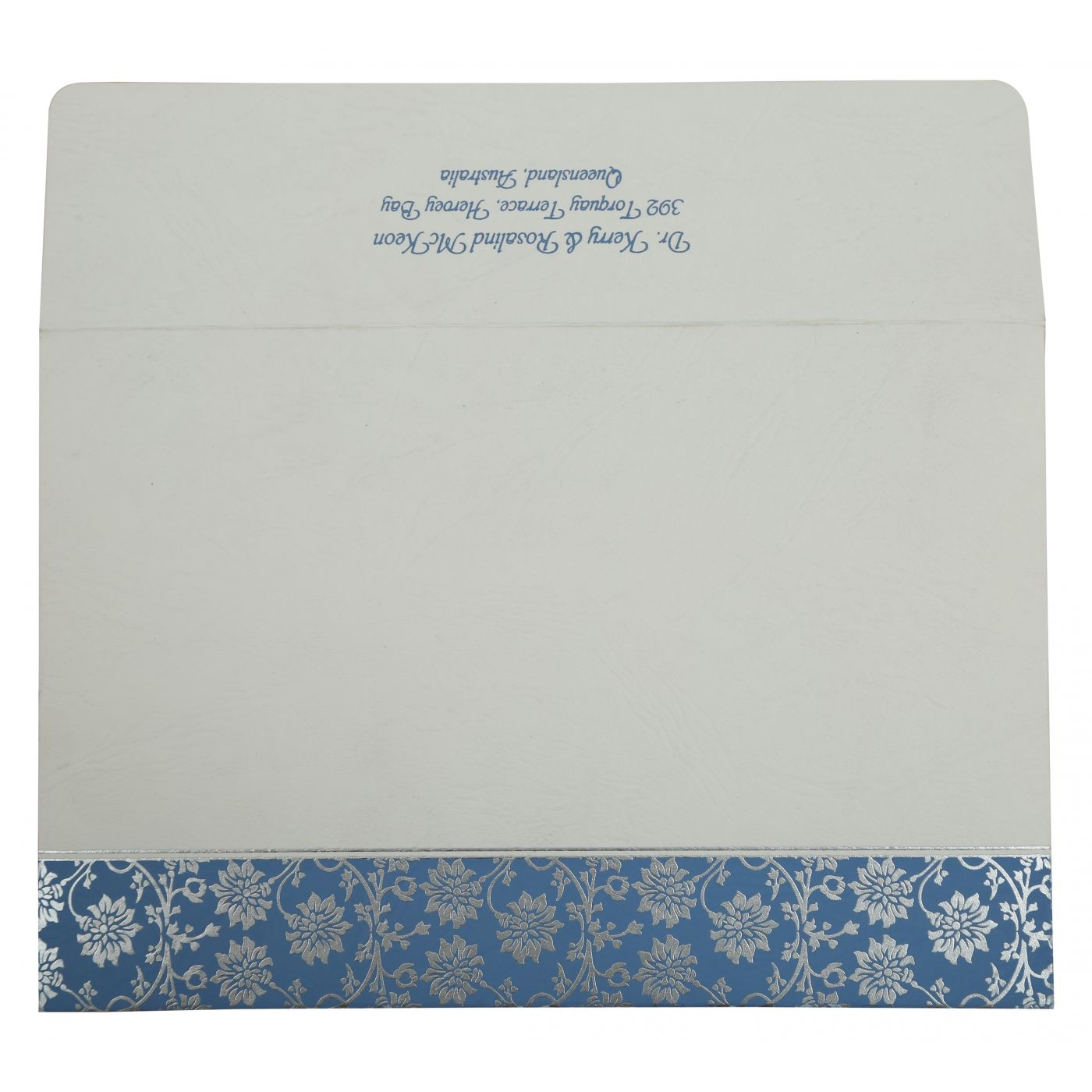 BLUE MATTE FLORAL THEMED - SCREEN PRINTED WEDDING INVITATION : CSO-810A - IndianWeddingCards