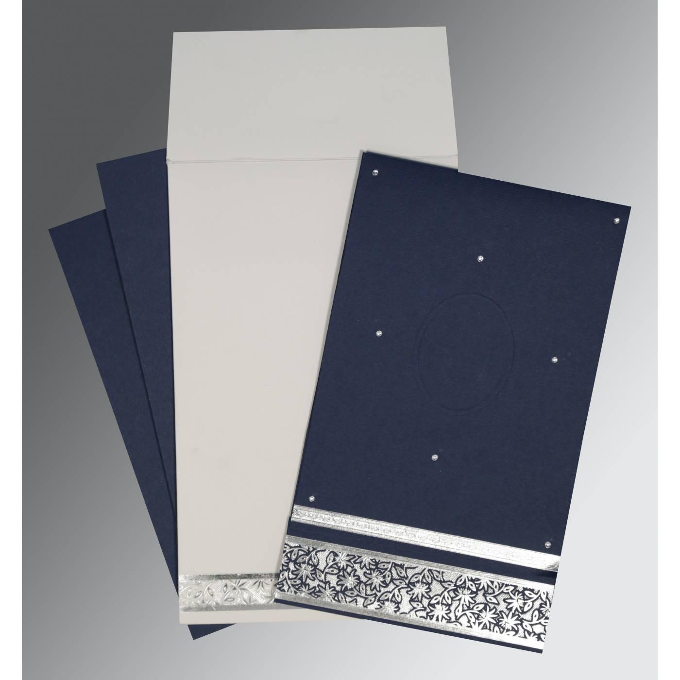 TATIANA MIDNIGHT BLUE MATTE FOIL STAMPED WEDDING INVITATION : CS-1433 - IndianWeddingCards