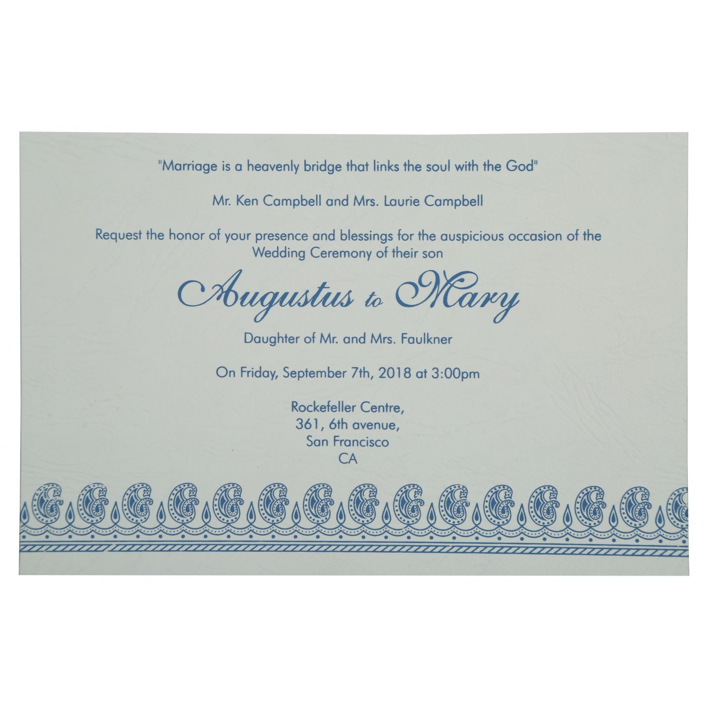 BLUE MATTE PAISLEY THEMED - SCREEN PRINTED WEDDING INVITATION : CIN-807D - IndianWeddingCards