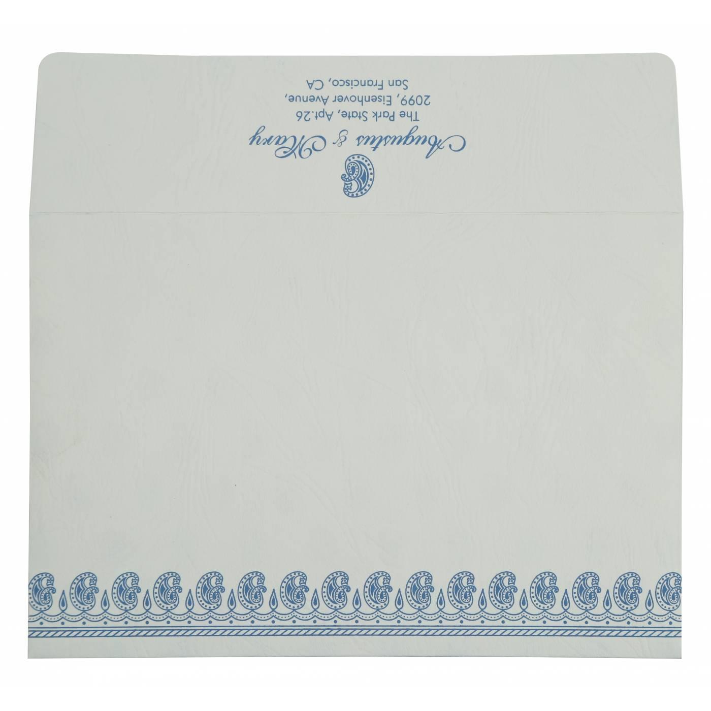 BLUE MATTE PAISLEY THEMED - SCREEN PRINTED WEDDING INVITATION : CRU-807D - IndianWeddingCards