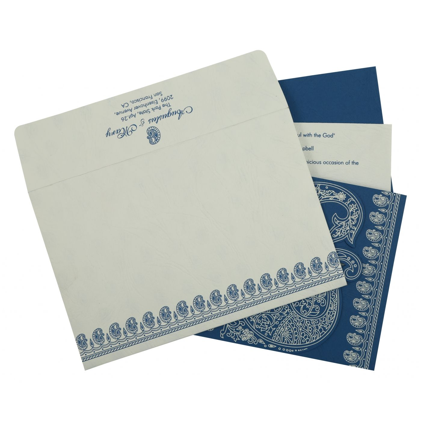 BLUE MATTE PAISLEY THEMED - SCREEN PRINTED WEDDING INVITATION : CW-807D - IndianWeddingCards