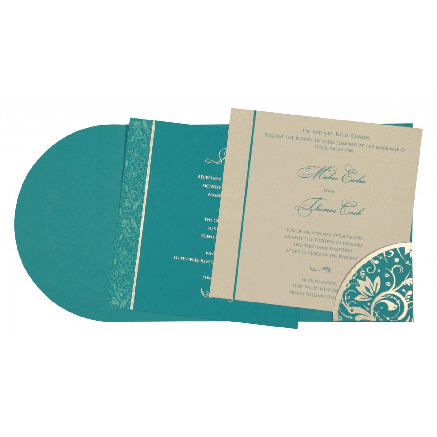 STRONG CYAN MATTE PAISLEY THEMED - SCREEN PRINTED WEDDING CARD : CRU-8264G - IndianWeddingCards
