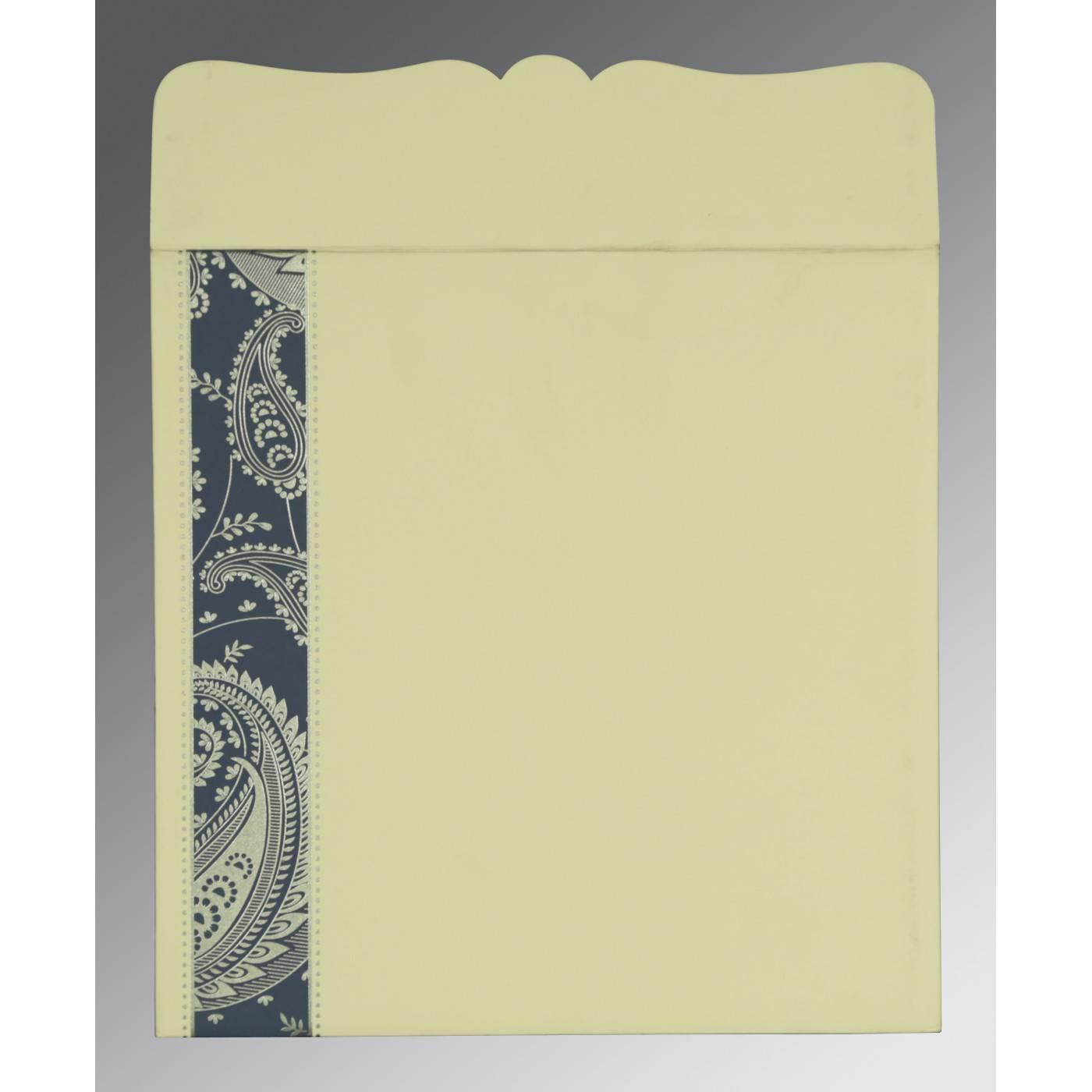 TEAL BLUE MATTE PAISLEY THEMED - SCREEN PRINTED WEDDING CARD : CS-8250E - IndianWeddingCards