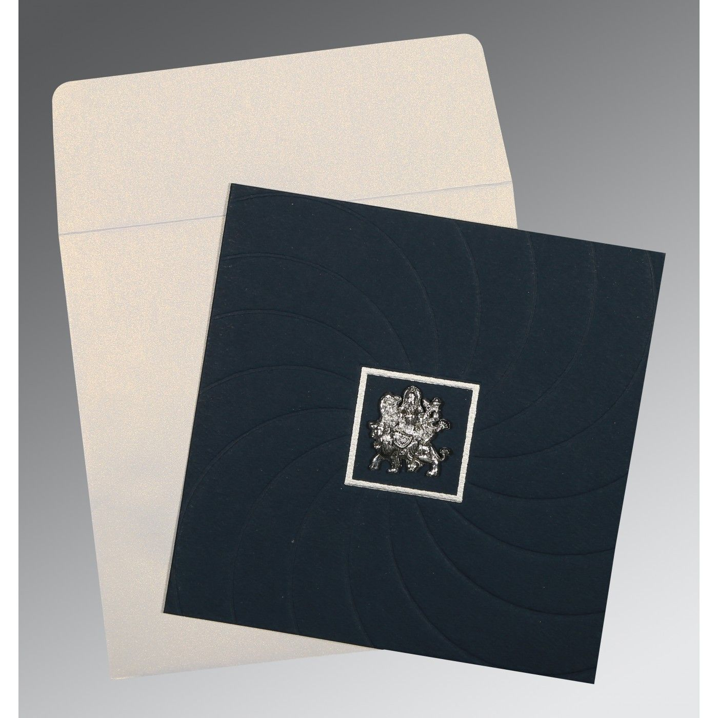 PRUSSIAN BLUE MATTE POCKET THEMED - EMBOSSED WEDDING CARD : CG-1436 - IndianWeddingCards
