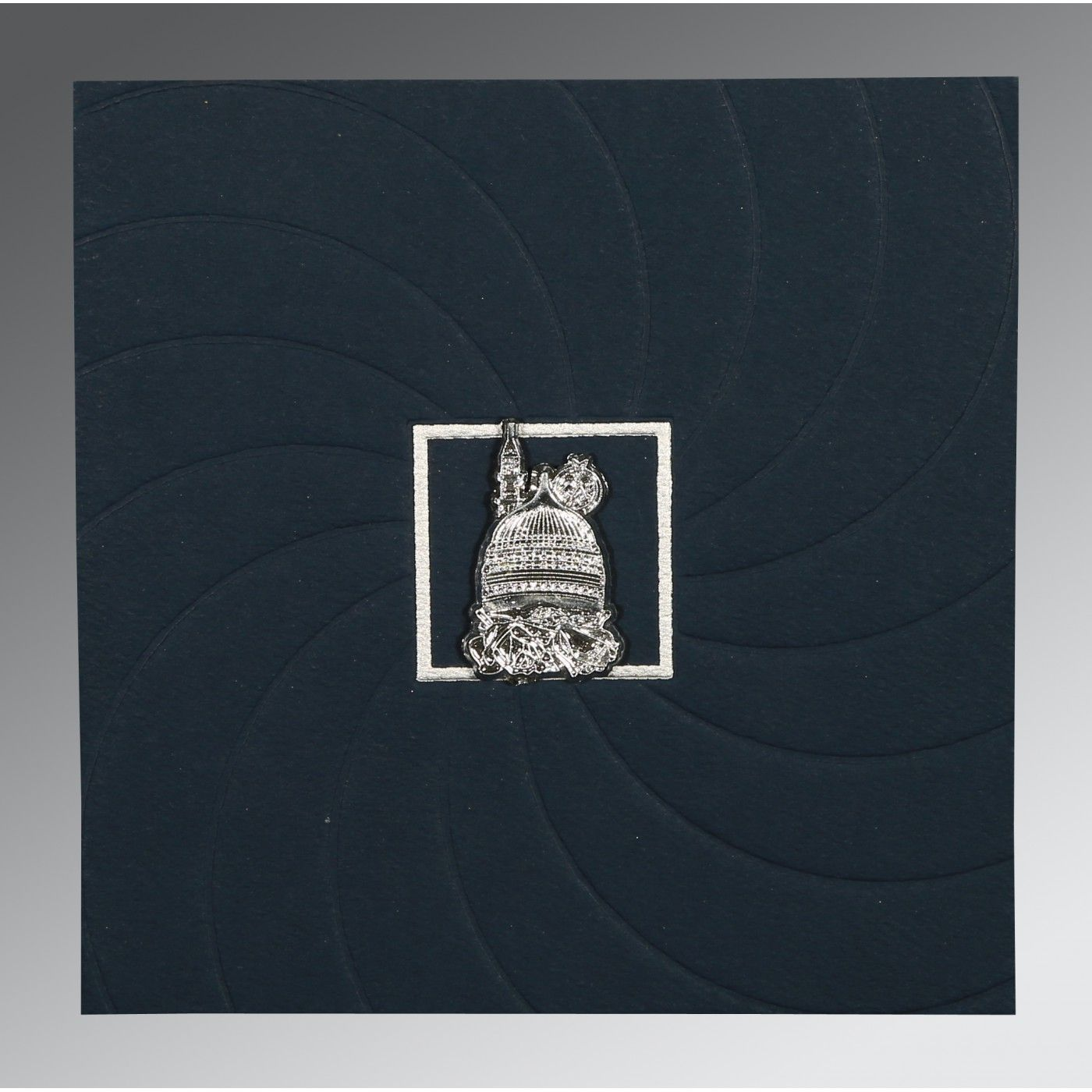 PRUSSIAN BLUE MATTE POCKET THEMED - EMBOSSED WEDDING CARD : CI-1436 - IndianWeddingCards