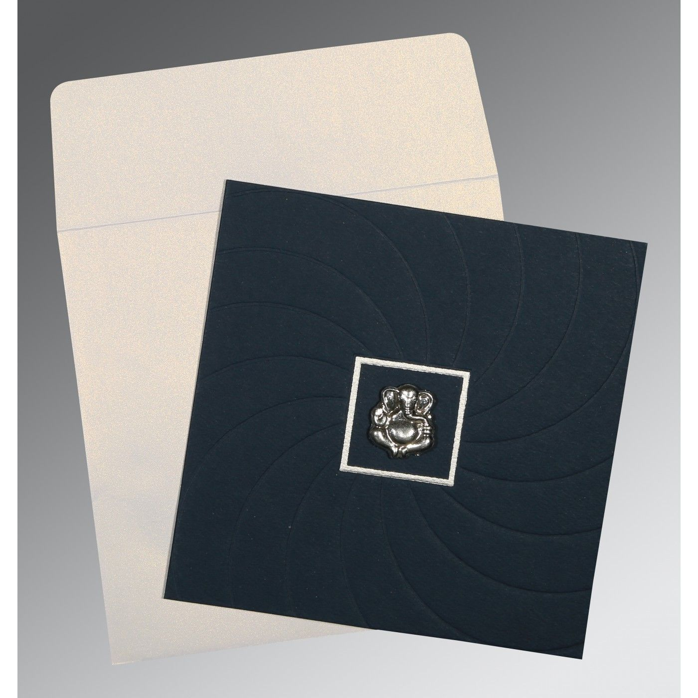 PRUSSIAN BLUE MATTE POCKET THEMED - EMBOSSED WEDDING CARD : CIN-1436 - IndianWeddingCards