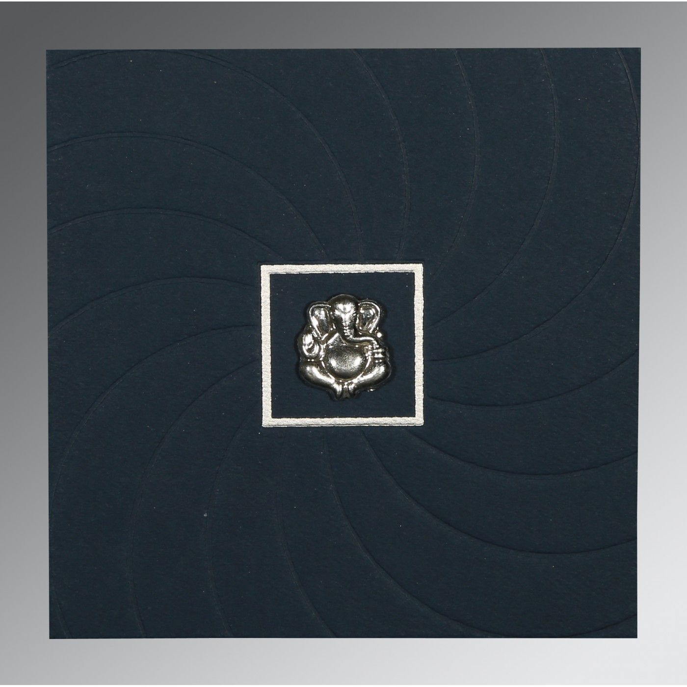 PRUSSIAN BLUE MATTE POCKET THEMED - EMBOSSED WEDDING CARD : CW-1436 - IndianWeddingCards