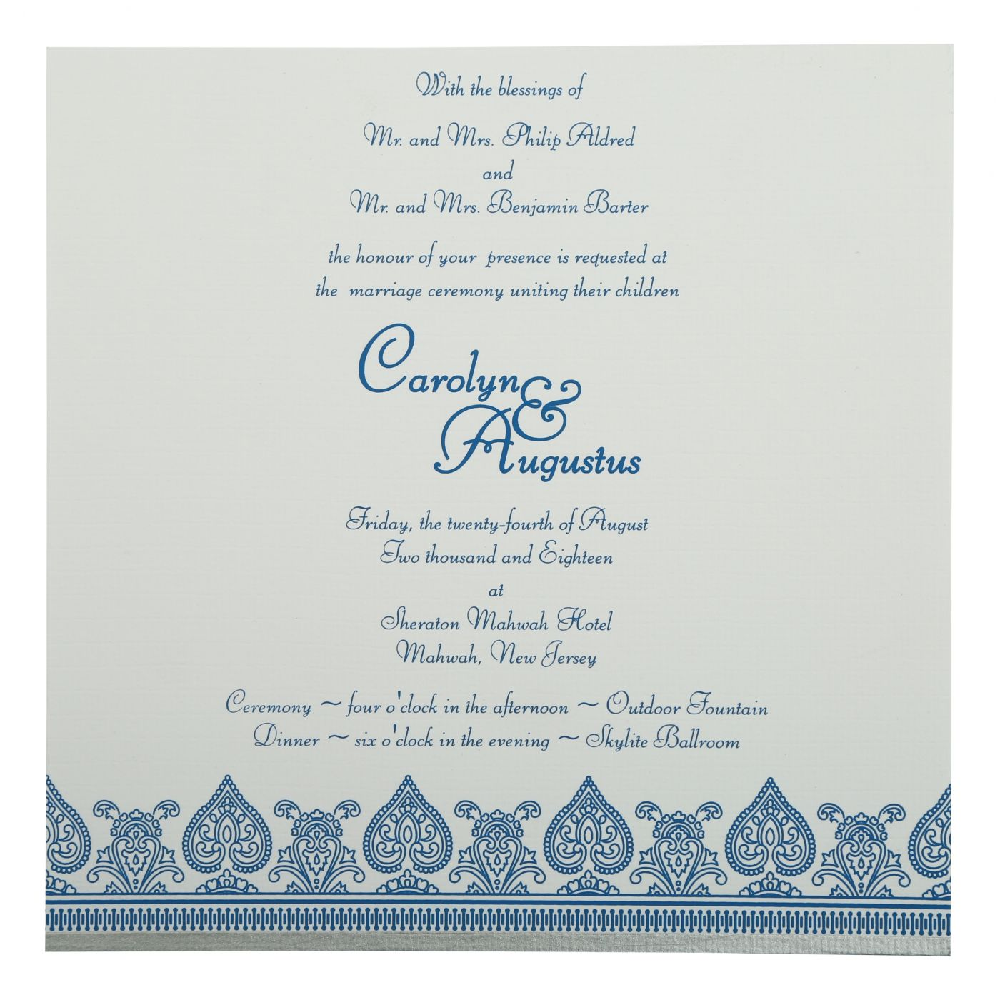 BLUE MATTE SCREEN PRINTED WEDDING INVITATION : CD-809D - IndianWeddingCards