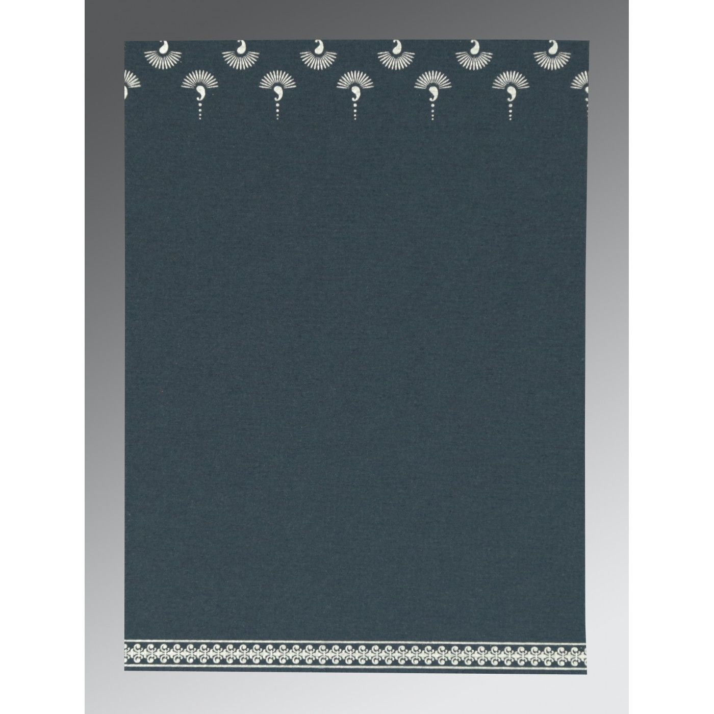 GRAYISH BLUE MATTE SCREEN PRINTED WEDDING INVITATION : CG-8247G - IndianWeddingCards