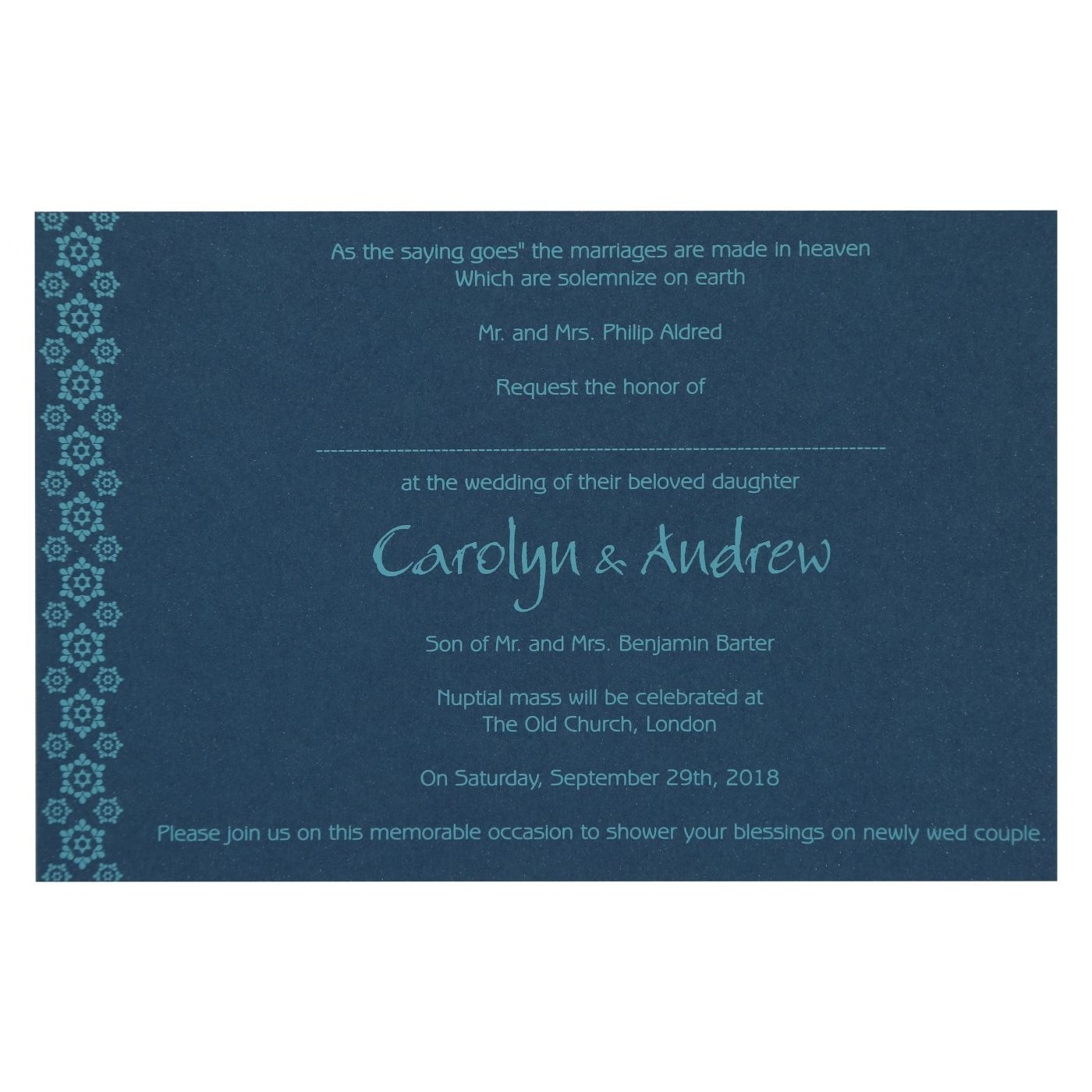 TEAL BLUE PAISLEY THEMED - SCREEN PRINTED WEDDING INVITATION : CI-801E - IndianWeddingCards