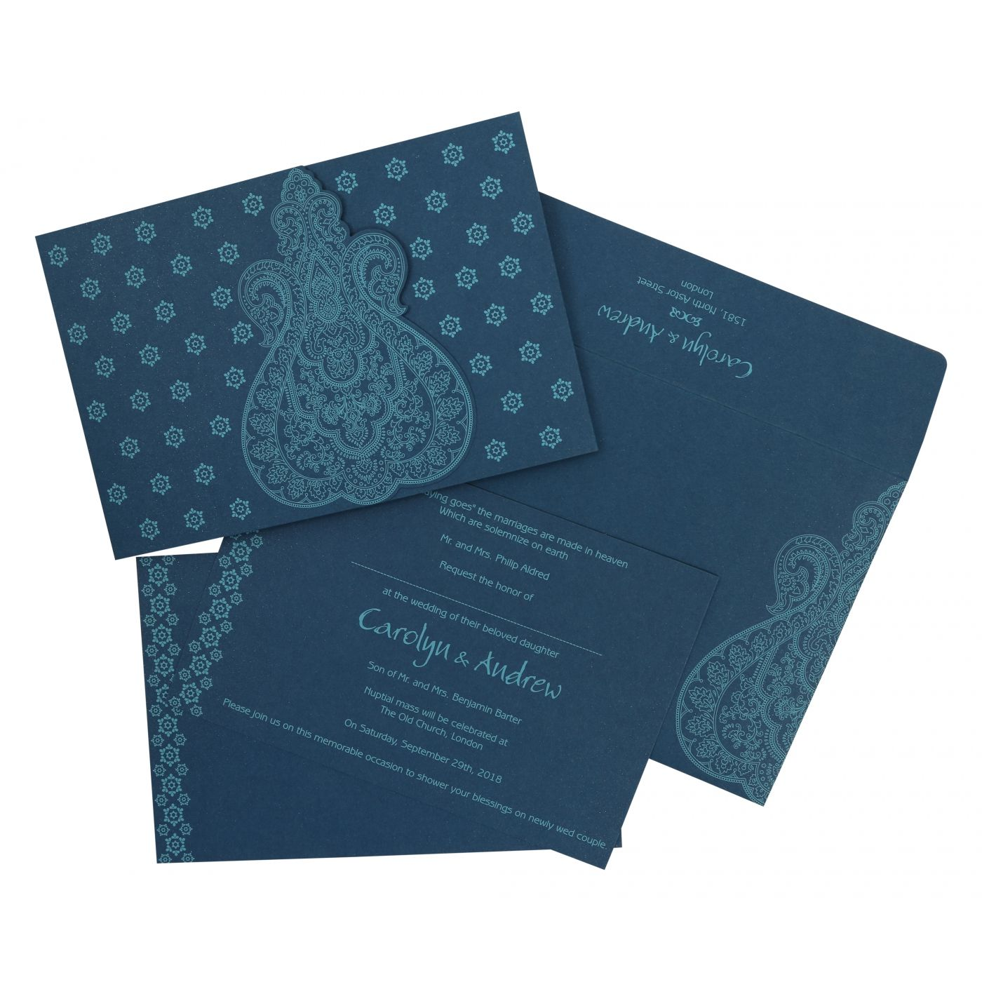TEAL BLUE PAISLEY THEMED - SCREEN PRINTED WEDDING INVITATION : CIN-801E - IndianWeddingCards