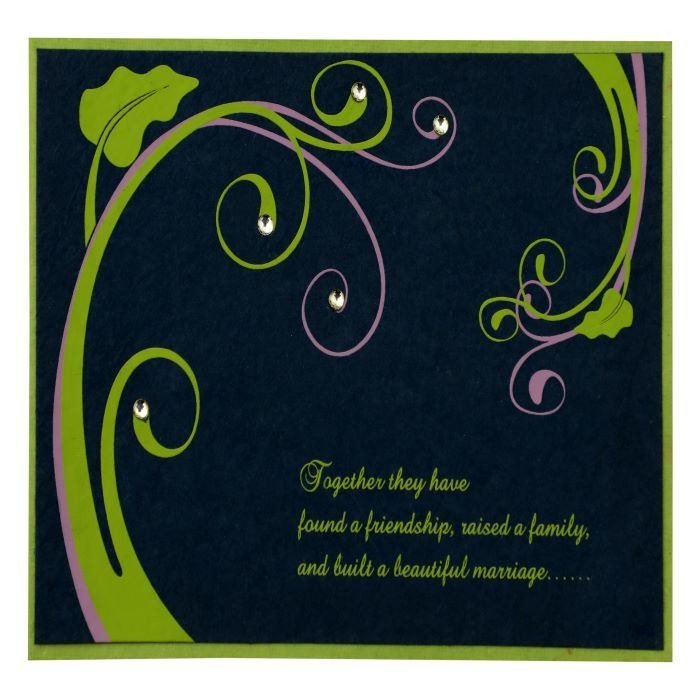 PARROT GREEN BLUE HANDMADE SILK FLORAL THEMED - SCREEN PRINTED PARTY CARDS : CPY-883 - IndianWeddingCards