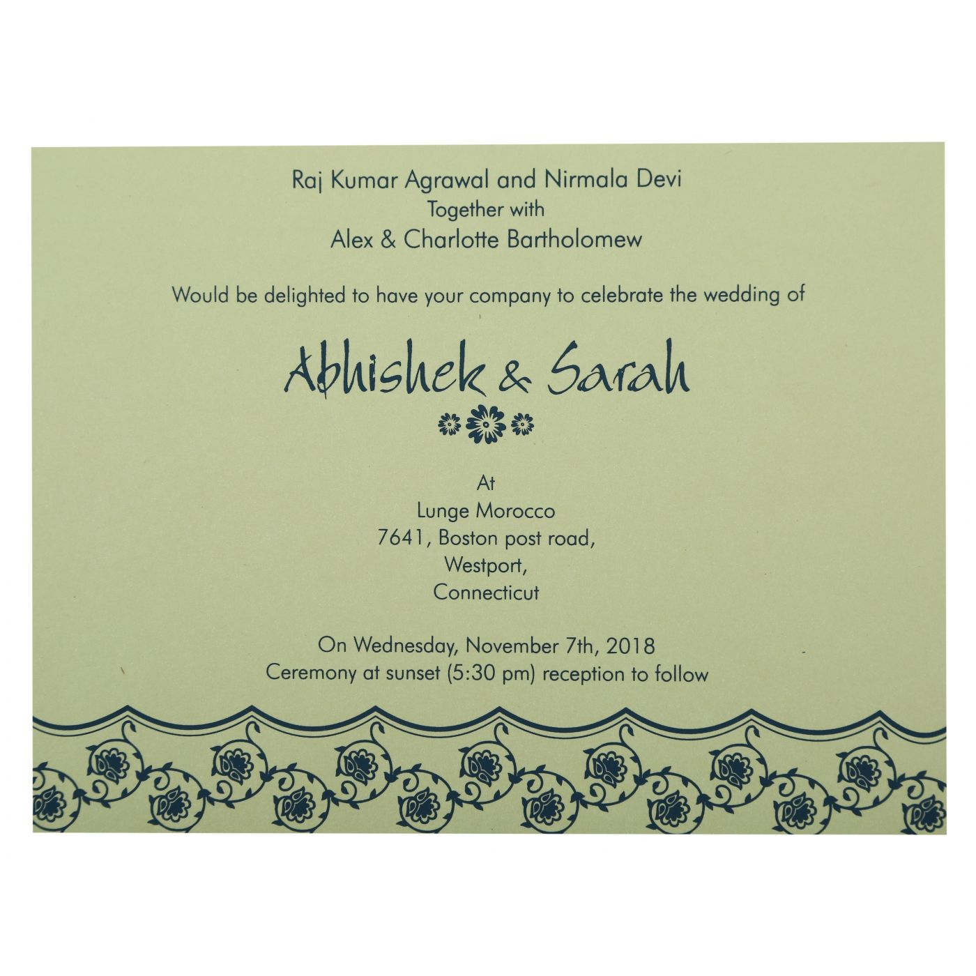BLUE SHIMMERY BUTTERFLY THEMED - SCREEN PRINTED WEDDING INVITATION : CG-821E - IndianWeddingCards