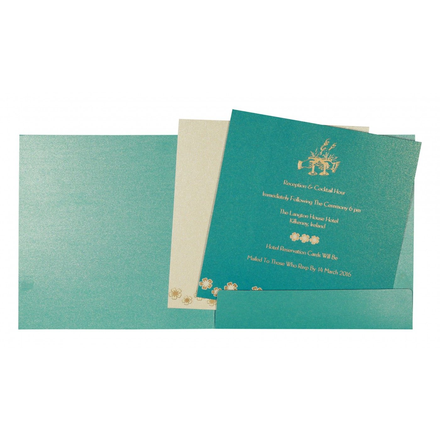 TURQUOISE SHIMMERY BUTTERFLY THEMED - SCREEN PRINTED WEDDING CARD : CIN-8258D - IndianWeddingCards
