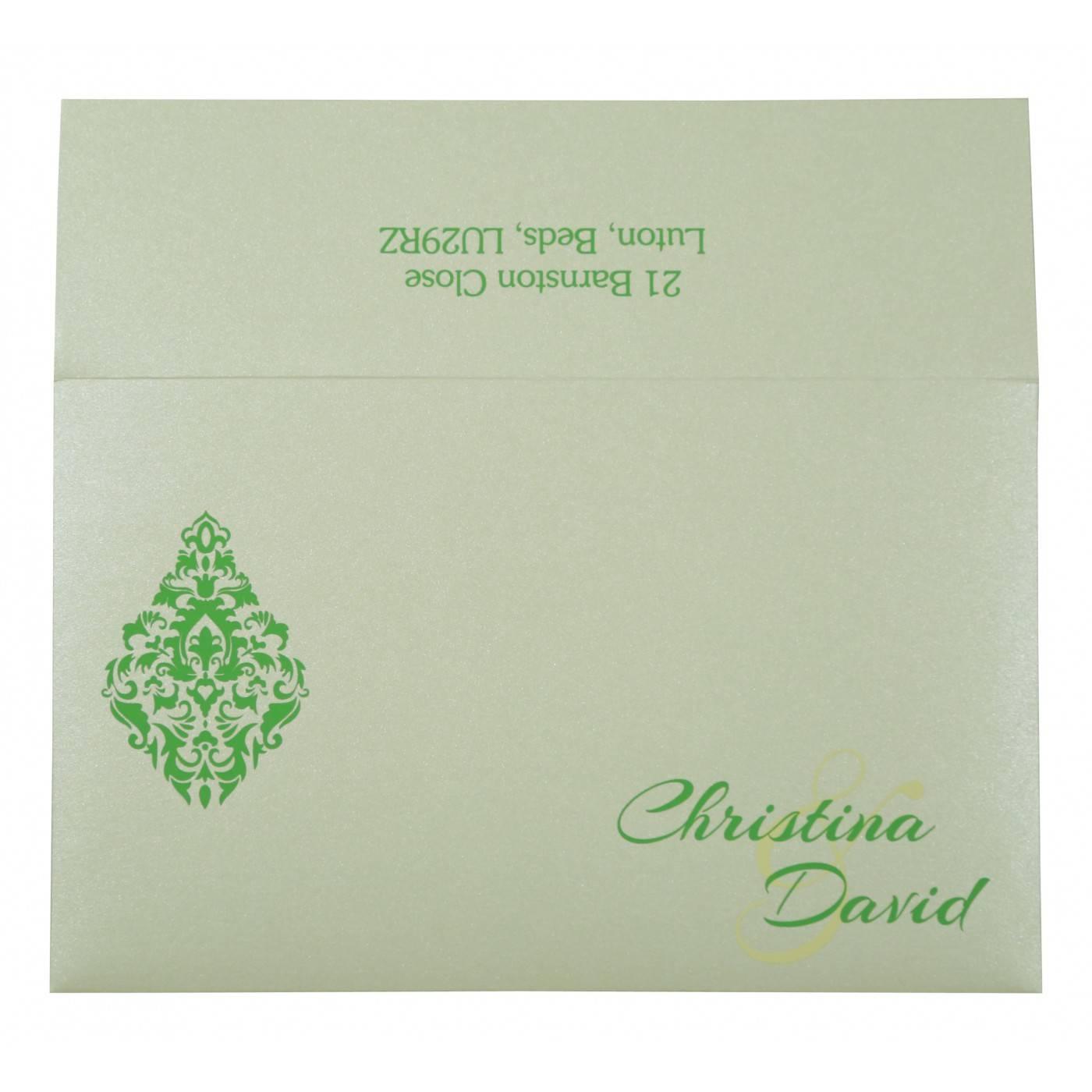 CYAN BLUE SHIMMERY DAMASK THEMED - LASER CUT WEDDING CARD : CG-8262A - IndianWeddingCards